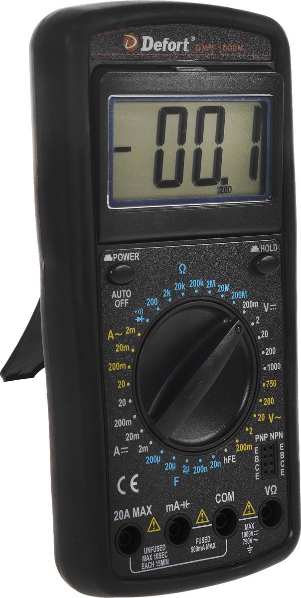 Мультитестер Defort DMM-1000N98298123_черныйЦифровой мультитестер Defort DMM-1000N предназначен для измерения напряжения постоянного тока (V DC), силыпостоянного тока (A DC), напряжения переменного тока (V AC), силы переменного тока (А АС), сопротивления (Ом),для проверки диодов, а также непрерывности электрических цепей (прозвонки).Особенности:Широкий диапазон применения;Защитный резиновый чехол.Постоянное напряжение: 0-1000 ВПеременное напряжение: 0-750 ВПостоянный ток: 0-20 АПеременный ток: 0-20 АСопротивление: 0-20 МОмИндикация перегрузкиИндикация полярности