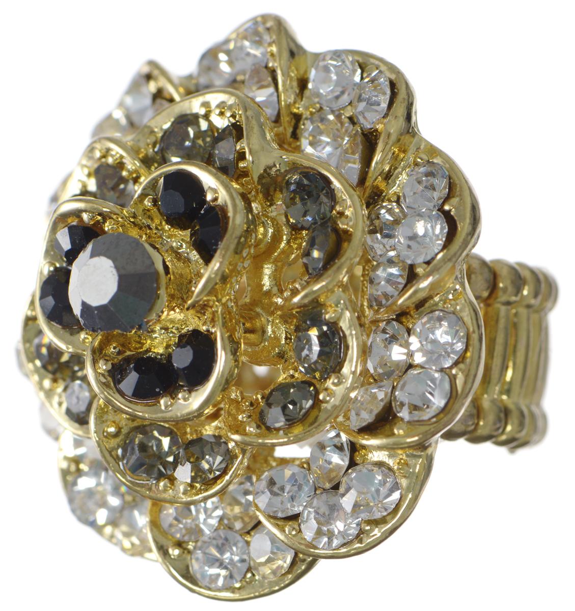 Кольцо Taya, цвет: золотой, черный, белый. T-B-7319Коктейльное кольцоКольцо современного дизайна Taya выполнено из металлического сплава и дополнено оригинальным декоративным элементом в виде розы.Благодаря эластичной основе изделие легко надевать.Кольцо Taya поможет дополнить любой образ и привнести в него завершающий яркий штрих.