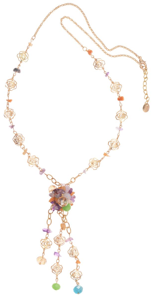 Колье Taya, цвет: золотистый, зеленый, фиолетовый. T-B-10187Колье (короткие одноярусные бусы)Колье современного дизайна Taya изготовлено из металлического сплава, стекла и натурального камня. Изделие оформлено оригинальными декоративными элементами в форме розочек, а также гранеными стеклянными бусинами и натуральными камнями.Колье застегивается на замок-карабин, в цепочке предусмотрены дополнительные звенья для регулировки длины изделия.Такое колье поможет дополнить любой образ и привнести в него завершающий штрих.