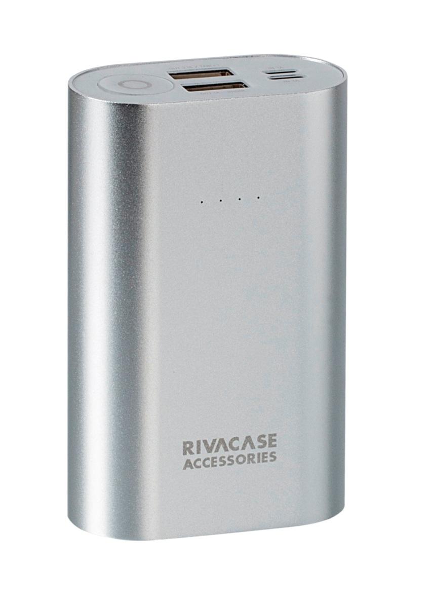 Rivapower VA1010 внешний аккумуляторVA 1010Rivapower VA1010 - литий-ионный внешний аккумулятор емкостью 10000 мАч. Два входа устройства предназначены для заряда аккумуляторной батареи через кабель с Micro - USB разъемом или через оригинальный кабель Apple Lightning. Два USB - выхода с суммарным током до 3,1А, позволяют быстро заряжать 2 устройства одновременно.Rivapower VA1010 совместим с наиболее популярными мобильными устройствами, в том числе и с iPhone, iPad. Подключите мобильное устройство к аккумулятору и зарядка начнется, а по ее завершении устройство выключится автоматически. Четыре светодиодных индикатора на лицевой стороне покажут уровень заряда аккумулятора.Защита от перегрева, перезаряда, переразряда, перегрузки по току и короткого замыкания не позволит устройству выйти из строя при перегрузках. Надежный алюминиевый корпус защищает Rivapower VA1010 от случайного повреждения, поглощает и отводит тепло, производимое аккумулятором.Полностью заряженный аккумулятор Rivapower VA1010 заряжает смартфон до 4 раз или планшет до 2 раз (в зависимости от емкости батареи мобильного устройства). Аккумуляторная батарея при правильной эксплуатации может быть заряжена более 500 раз.