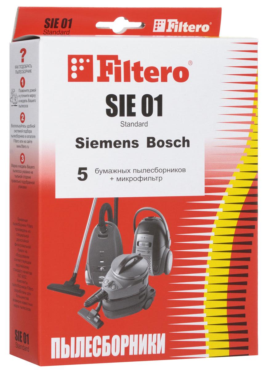 Filtero SIE 01 Standard пылесборник (5 шт)SIE 01 (5) StandardОдноразовые бумажные мешки для пылесосов Filtero SIE 01 Standard сделаны из высококачественной многослойной фильтровальной бумаги, которая пропускает воздух, но задерживает даже самые маленькие частицы пыли.Бумажные мешки для пылесосов защищают двигатель от основного потока пыли, а, следовательно, и от перегрева вследствие засорения и преждевременного износа. Они предназначены для одноразового использования и прекрасно подходят для уборки в больших помещениях.Пылесборники подходят для следующих моделей пылесосов:SIEMENSVS 10000 - VS 10999 SuperVS 50000 - VS 59999 SuperVS 69000 - VS 69999 SuperVS 70000 - VS 71999 SuperVS 06G0000 - VS 06G9999 SynchropowerVS 07G1800 - VS 07G2999 Technopowerнапример: VS 07G1835 TechnopowerVS 32A00 - VS 33A99 Super EVS 32B00 - VS 33B99 Super EVS 42A00 - VS 42A99 Super SVS 42B00 - VS 42B99 Super SVS 50A00 - VS 59A99 Super XS/Super XXS DinoVS 50B00 - VS 59B99 Super XS/Super XXS DinoVS 50C00 - VS 59C99 Super XS/Super XXS DinoVS 55E00 - VS 59E99 DinoVS 63A00, VS 63A07 Silver Class/Super CVS 63A10 - VS 63A99 Silver Class/Super CVS 70C00 - VS 79C99 Super MVS 70D00 - VS 79D99 Super MVS 90A00 - VS 99A99 Super L/Super XLBOSCHBBS 1000 - BBS 1199 Alpha/SolidaBBS 2000 - BBS 2299BBS 2400 - BBS 2999 AlphaBBS 5000 - BBS 5999 OptimaBBS 6310 - BBS 6399 с коробомBBS 7000 - BBS 7999 CompactaBBS 8000 - BBS 8999 PerfectaBSA 2000 - BSA 2999 Solitaire/Speedy/SpheraBSC 1000 - BSC 1999 Casa/Easy Control/Pro ParquetBSD 2312 BSD 2700 BSD 2800 - BSD 2999 SpheraBSD 3000 - BSD 3999 SpheraBSF 1000 - BSF 1999 UltraBSF 2190 BSG 2000 AquaeraBSG 41800 TerrossaBSG 61600 - BSG 62999 LogoBSG 7000 - BSG 7999BSG 70000 - BSG 79999 Formulaнапример: BSG 72230 FormulaCONTIVC 701 - VC 704KARCHERVC 5100, VC 5200, VC 5300, VC 6100, VC 6200, VC 6300, VC 6350SHIVAKISVC 1410 CycloneUFESAAC 5500 Ciceris DualAT 4211, 4212, 4217, 4218 Ciceris
