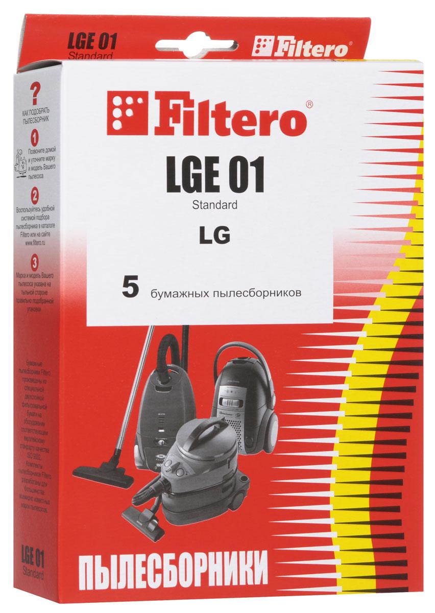 Filtero LGE 01 Standard пылесборник (5 шт)LGE 01 (5) StandardОдноразовые бумажные мешки для пылесосов Filtero LGE 01 Standard сделаны из высококачественной многослойной фильтровальной бумаги, которая пропускает воздух, но задерживает даже самые маленькие частицы пыли.Бумажные мешки для пылесосов защищают двигатель от основного потока пыли, а, следовательно, и от перегрева вследствие засорения и преждевременного износа. Они предназначены для одноразового использования и прекрасно подходят для уборки в больших помещениях.Пылесборники подходят для следующих моделей пылесосов:LGTurbo 27..., 29..., 31..., 32..., 33..., 34..., 44...FVD 30…V 27...например: V 2710 TEV 33... TurboV 35... Passion V 39... ExtronV-C 31... V-C 32... TurboV-C 33... Storm V-C 34...V-C 35... PassionV-C 38... Turbo SV-C 39... ExtronV-C 3A4... Turbo Beta например: V-C 3A42 SD Turbo BetaV-C 3A5… Turbo BetaV-C 3A6… Turbo Beta V-C 3B5… Turbo DeltaV-C 3C3… Turbo V-C 3C4..V-C 3E4… Turbo V-C 3E5..V-C 3E6..V-C 3G4.. V-C 3G5..V-C 45... V-C 55... Turbo alphaV-C 59... TurboV-C 5A4..например: V-C 5A42 SD V-C 5A5..V-C 66...V-CA 66… Turbo Alpha V-CA 67... Turbo AlphaV-CB 56... V-CB 57...V-CB 58...V-CP 24...V-CP 65... Turbo Beta V-CP 66... TurboBetaV-CP 73..V-CP 74... Sweeper/Turbo ZetV-CP 95... BonnV-CP 96... BonnCAMERON CVC 1060CLATRONIC BS 1224EVGO EVC 4570POLAR VC 1408 Elephant, VC 1601 AuroraSCARLETT SC 1087 Jordan, SC 289 Jason