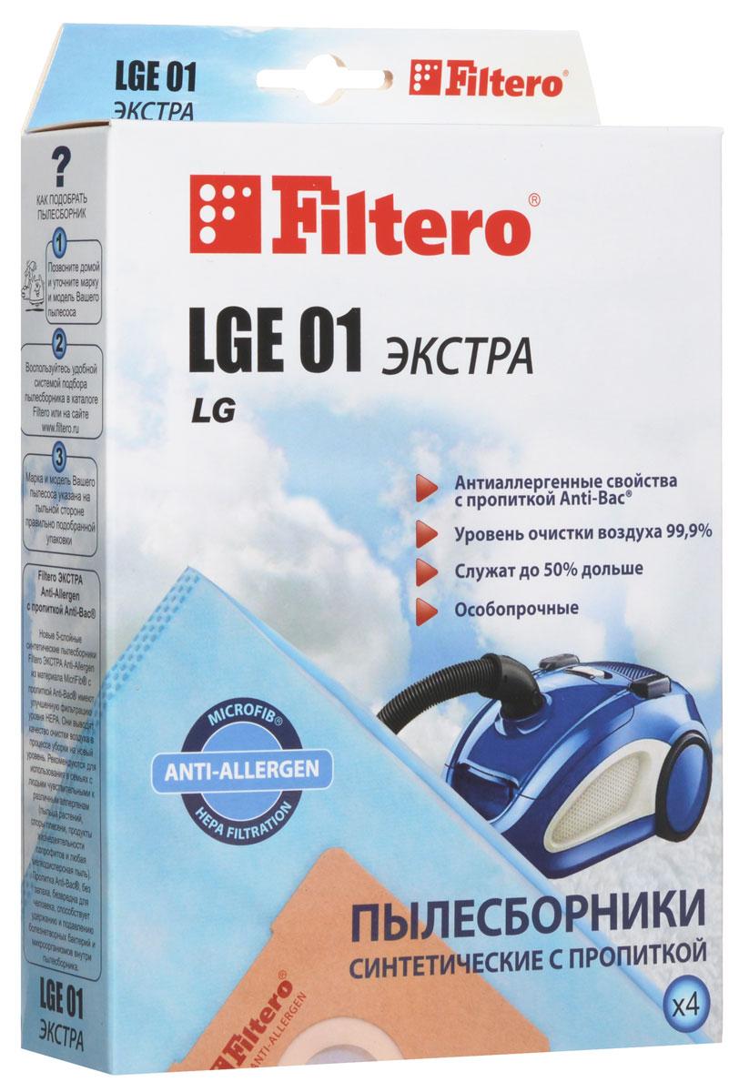 Filtero LGE 01 Экстра пылесборник (4 шт)LGE 01 (4) ЭКСТРАПылесборники Filtero LGE 01 Экстра произведены из синтетического микроволокна MicroFib с антибактериальной пропиткой Anti-Bac. Очень прочные, они не боятся острых предметов и влаги, собирают больше пыли (до 50%) и обеспечивают уровень очистки воздуха 99,9%, а также задерживают бактерии и препятствуют их распространению. При этом мощность всасывания пылесоса сохраняется в течение всего периода службы пылесборника.Пылесборники подходят для следующих моделей пылесосов:LGTurbo 27..., 29..., 31..., 32..., 33..., 34..., 44...FVD 30…V 27...например: V 2710 TEV 33... TurboV 35... PassionV 39... ExtronV-C 31... V-C 32... TurboV-C 33... StormV-C 34...V-C 35... PassionV-C 38... Turbo SV-C 39... ExtronV-C 3A4... Turbo Betaнапример: V-C 3A42 SD Turbo BetaV-C 3A5… Turbo BetaV-C 3A6… Turbo BetaV-C 3B5… Turbo DeltaV-C 3C3… Turbo V-C 3C4...V-C 3E4… TurboV-C 3E5...V-C 3E6...V-C 3G4...V-C 3G5...V-C 45...V-C 55... Turbo alpha V-C 59... TurboV-C 5A4...например: V-C 5A42 SD V-C 5A5...V-C 66...V-CA 66… Turbo AlphaV-CA 67... Turbo AlphaV-CB 56...V-CB 57...V-CB 58...V-CP 24...V-CP 65... Turbo BetaV-CP 66... TurboBetaV-CP 73...V-CP 74... Sweeper/Turbo ZetV-CP 95... BonnV-CP 96... BonnCAMERON CVC 1060CLATRONIC BS 1224EVGO EVC 4570POLAR VC 1408 Elephant, VC 1601 AuroraSCARLETT SC 1087 Jordan, SC 289 Jason