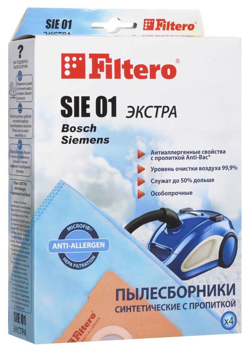 Filtero SIE 01 Экстра пылесборник (4 шт)SIE 01 (4) ЭКСТРАПылесборники Filtero SIE 01 Экстра произведены из синтетического микроволокна MicroFib с антибактериальной пропиткой Anti-Bac. Очень прочные, они не боятся острых предметов и влаги, собирают больше пыли (до 50%) и обеспечивают уровень очистки воздуха 99,9%, а также задерживают бактерии и препятствуют их распространению. При этом мощность всасывания пылесоса сохраняется в течение всего периода службы пылесборника.Пылесборники подходят для следующих моделей пылесосов:BOSCHBBS 1000 - BBS 1199 Alpha/SolidaBBS 2000 - BBS 2299BBS 2400 - BBS 2999 AlphaBBS 5000 - BBS 5999 OptimaBBS 6000 - BBS 6309 Activaнапример:BBS 6301 ActivaBBS 6310 - BBS 6399 с коробомBBS 6400 - BBS 6999 ActivaBBS 7000 - BBS 7999 CompactaBBS 8000 - BBS 8999 PerfectaBSA 2000 - BSA 2999 Solitaire/Speedy/SpheraBSC 1000 - BSC 1999 Casa/Easy Control/Pro ParquetBSD 1000 - BSD 1999 CasaBSD 2000 - BSD 2999 NaturaBSD 2312, BSD 2700BSD 2800 - BSD 2999 Spheraнапример: BSD 2880 SpheraBSD 3000 - BSD 3999 SpheraBSF 1000 - BSF 1999 UltraBSF 2190BSG 2000 AquaeraBSG 41800 TerrossaBSG 61600 - BSG 62999 LogoBSG 7000 - BSG 7999BSG 70000 - BSG 79999 Formulaнапример: BSG 72230 FormulaBSGL 2 move 1 - BSGL 2 mov 31BSGL 32000 - BSGL 32599BSGL 41000 - BSGL 42299SIEMENSVS 10000 - VS 10999 SuperVS 50000 - VS 59999 SuperVS 69000 - VS 69999 SuperVS 70000 - VS 71999 SuperVS 04G1780 RUVS 06G0000 - VS 06G9999 SynchropowerVS 07G1800 - VS 07G2999 Technopowerнапример: VS 07G1835 TechnopowerVS 32A00 - VS 33A99 Super EVS 32B00 - VS 33B99 Super EVS 42A00 - VS 42A99 Super SVS 42B00 - VS 42B99 Super SVS 50A00 - VS 59A99 Super XS/Super XXS DinoVS 50B00 - VS 59B99 Super XS/Super XXS DinoVS 50C00 - VS 59C99 Super XS/Super XXS DinoVS 55E00 - VS 59E99 DinoVS 60A00 - VS 62A99 Super MVS 63A00 - VS 63A07 Silver Class/Super CVS 63A01 - VS 63A06 Super MVS 63A08 - VS 63A09 Super MVS 63A10 - VS 63A99 Silver Class/Super CVS 70A00 - VS 79A99 Super Eнапример: VS 79A35 Super EVS 70B00 - VS 79B99 Super E