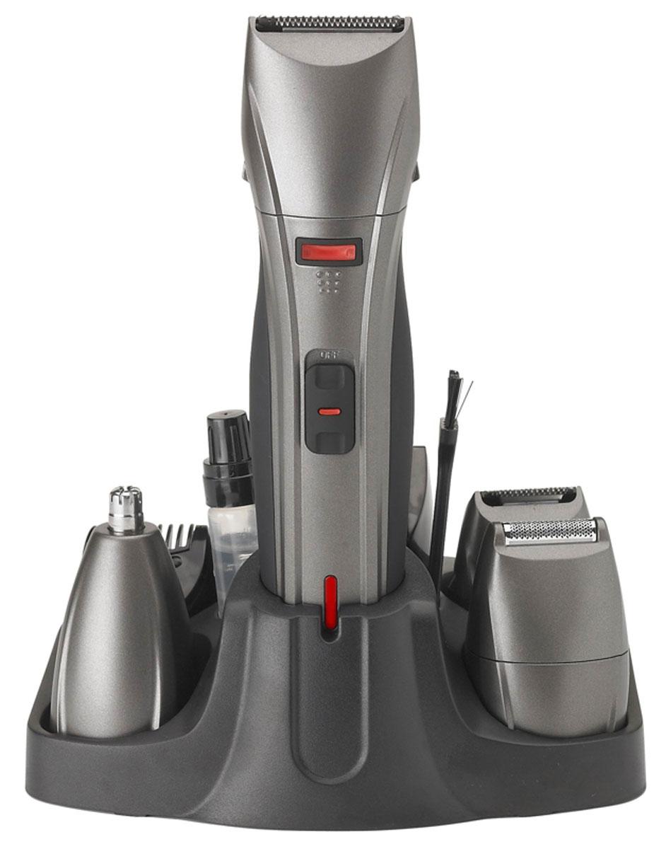 Supra RS-402 набор для стрижкиRS-402Машинка для стрижки и бритья Supra RS-402 поставляется с набором инструментов, с помощью которых можно с легкостью придать волосам нужный вид. За счет мощной аккумуляторной батареи устройством можно пользоваться длительное время - до 40 минут без подзарядки! Также машинка работает от сети. Встроенный индикатор даст вам знать, когда необходимо подзарядить вашу машинку. Полная зарядка аккумулятора достигается за 8 часов. Самозатачивающиеся лезвия обеспечивают долгий срок службы аппарата. Машинка Supra RS-402 оснащена подставкой для хранения аксессуаров, а также устройством предусмотрена влажная очистка лезвий. Шесть разнообразных насадок обеспечат высокое качество бритья и стрижки.