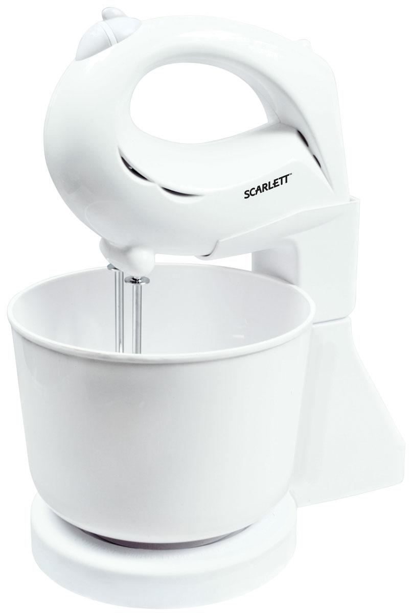 Scarlett SC-048 миксерSC-048Миксер Scarlett SC-048 - удобная и эргономичная модель, которая может перемешивать и взбивать, используя 2 вида насадок. Этот миксер поможет быстро взбить яйца, приготовить крем или перемешать тесто при помощи 7 скоростных режимов. На корпусе также находятся кнопка извлечения насадок.