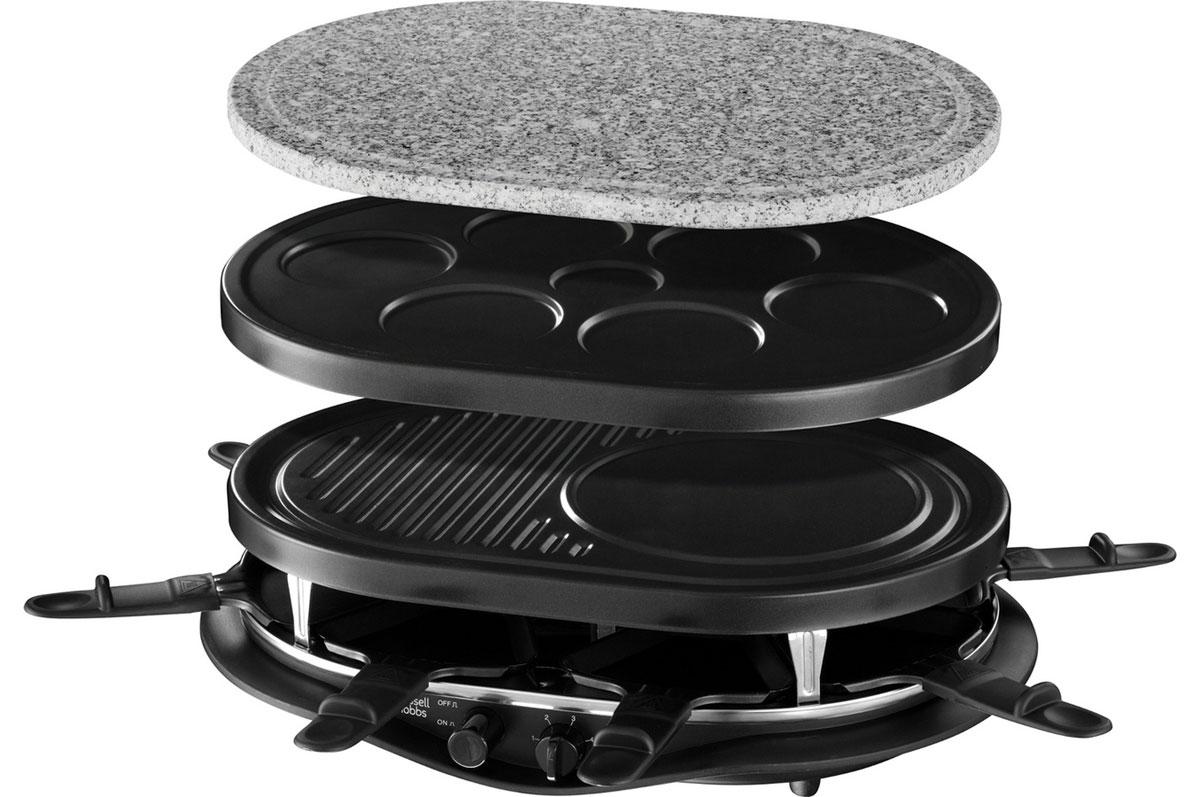 Russell Hobbs 21000-56 Fiesta 8-Pan электрогриль21000-56Воскресные семейные обеды или ужин для компании друзей теперь станут еще более приятными, интересными и разнообразными, а главное - совершенно бесхлопотными с новым универсальным грилем Russell Hobbs 21000-56 Fiesta 8-Pan для настольного приготовления еды.Просто заготовьте сырые ингредиенты: тесто для блинчиков, кусочки сырого мяса, птицы или рыбы, свежие овощи, а также специи. Ваши гости сами смогут подобрать под себя желаемые продукты и готовить их, не выходя из-за стола. Универсальный настольный прибор Russell Hobbs придаст особый вкус в сервировке стола, очень удобен и прост в использовании и гарантирует вам удовольствие от совместного приготовления вкусной домашней еды в кругу приятных вам людей. В комплект этого прибора входят разнообразные сменные панели: для выпекания мини-блинчиков, для приготовления лепешек или традиционных блинов, для гриля, соусов. Также в комплекте имеется камень для жарки мяса и овощей и 8 раклетниц для разнообразных соусов и топпингов. Такой способ приготовления блюд из мяса, рыбы и овощей на камне непременно приятно удивит и порадует любую компанию необычной сервировкой стола, возможностью самостоятельно контролировать степень прожарки еды для себя и изысканным вкусом свежеприготовленных блюд.Ненагревающиеся ручки для переноскиВсе панели съемные и пригодные для мытья в посудомоечной посуде8 раклетниц для индивидуального приготовления соусов и топпинговКаменнная панель для жарки, панель для гриля с отсеком для блинов и лепешек, панель для мини-блинов