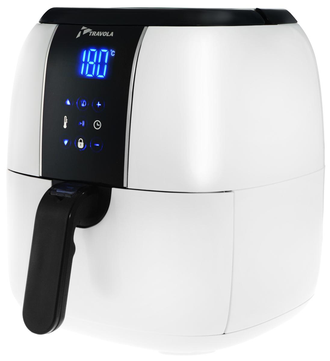 Travola, White аэрогрильAFE02B_whiteАэрогриль Travola - это легкий и быстрый способ приготовить вкусные и полезные блюда. Благодаряциркуляции горячего воздуха вы можете готовить разнообразную пищу, используя минимальное количество масла.Аэрогриль оснащен съемным контейнером. Встроенный таймер на 60 минут позволяет установить время приготовления. Вы можете регулировать температуру для приготовления пищи в диапазоне 60°С до 200°С. Сенсорная панель управления дает возможность легко выбрать нужную вам программу. Аэрогриль Travola оборудован предохранительным выключателем. При извлечении поддона из аэрогриля во время его работы, устройство прекращает нагрев, а таймер автоматически переключается на паузу, пока поддон не будет помещен назад.Программы:01 - Замороженная жареная картошка (200°С, 16 минут)02 - Жареная картошка по-домашнему (200°С, 18 минут)03 - Стейк (180°С, 15 минут)04 - Куриные ножки (180°С, 20 минут)05 - Рыба (200°С, 12 минут)06 - Кекс (200°С, 17 минут) * Победитель номинации «Лучшая собственная торговая марка в сегменте ONLINE»Премия PRIVATE LABEL AWARDS (by IPLS) —международная премия в области собственных торговых марок, созданная компанией Reed Exhibitions в рамках выставки «Собственная Торговая Марка» (IPLS) 2016 с целью поощрения розничных сетей, а также производителей продовольственных и непродовольственных товаров за их вклад в развитие качественных товаров private label, которые способствуют росту уровня покупательского доверия в России и СНГ.