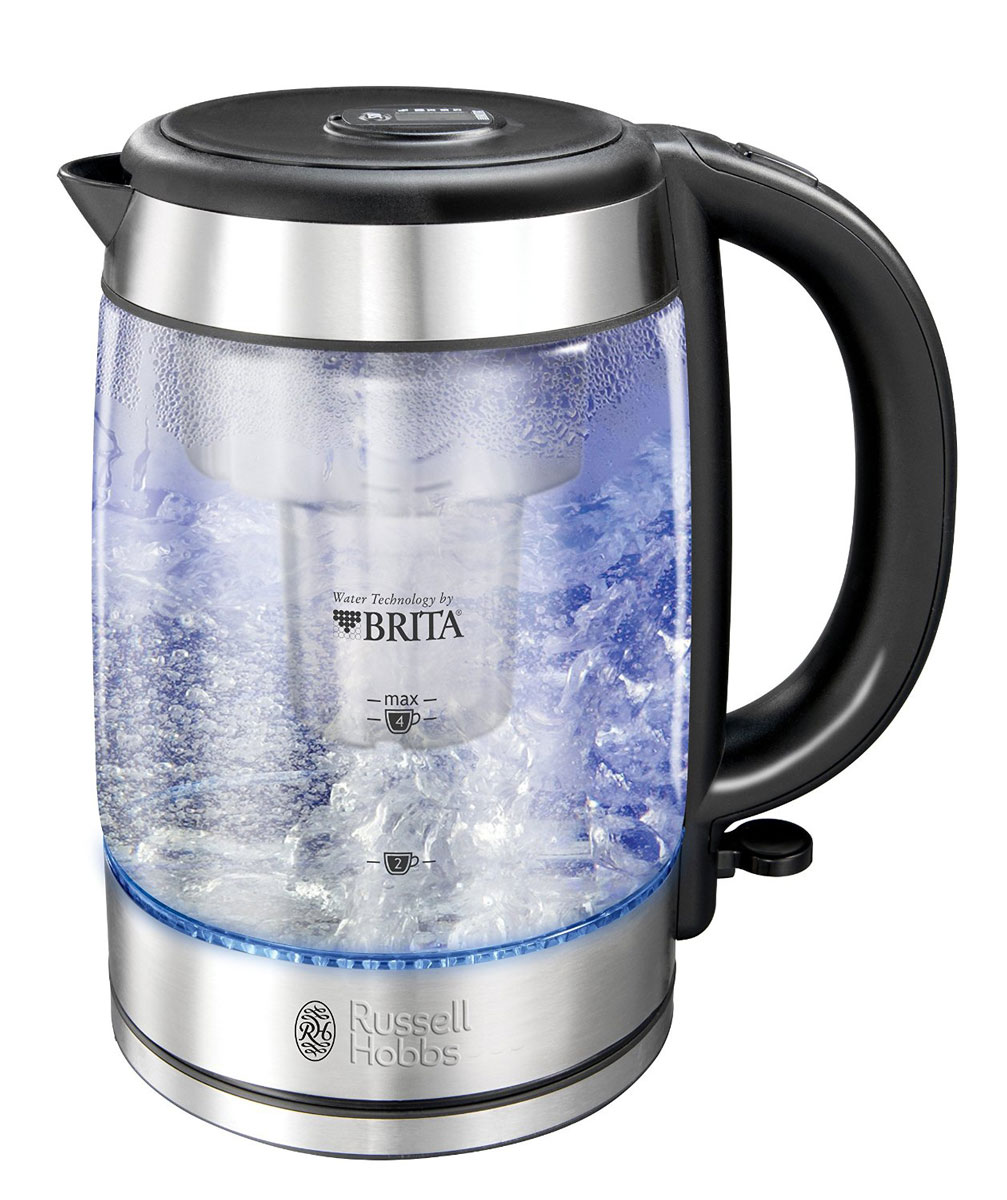 Russell Hobbs 20760-70, Clarity электрочайник20760-70Чайник Russell Hobbs 20760-70 оснащен инновационной системой фильтрации воды для производства очищенной воды, которая улучшает вкус напитков. Этот стильный чайник укомплектован встроенным фильтром Brita, который удаляет из воды различные примеси, хлор, поглощает медь и свинец, которые могут содержаться в водопроводной воде, предотвращает образование накипи. Встроенный электронный индикатор вовремя напомнит вам о необходимости замены картриджа фильтра.Чайник вмещает 1 литр отфильтрованной воды, что достаточно для приготовления кипятка на 6 чашек. Выполненный в корпусе из специализированного стекла Schott Glass с отделкой из матированной нержавеющей стали, чайник является воплощением стиля и изысканности. Отсек хранения шнура позволяет спрятать лишнюю длину, сохраняя порядок на столешнице.Отсек для нефильтрованной воды: 0.5 л