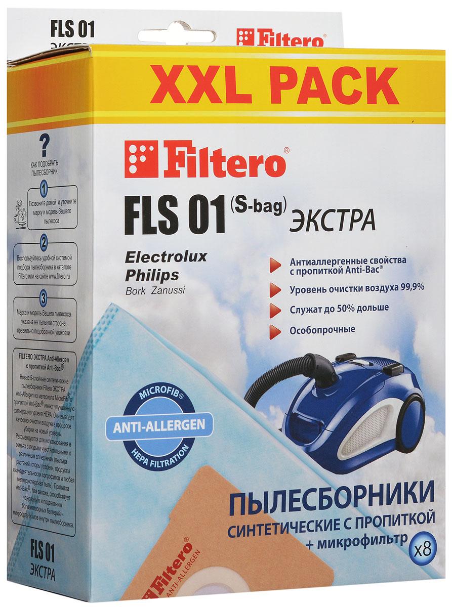 Filtero FLS 01 (S-bag) XXL Pack Экстра пылесборник (8 шт)FLS 01 (S-bag) (8) XXL PACK ЭКСТРАМешки-пылесборники Filtero FLS 01 (S-bag) XXL Pack экстра Anti-Allergen произведены из синтетического микроволокна MicroFib с антибактериальной пропиткой Anti-Bac. Очень прочные, они не боятся острых предметов и влаги, собирают больше пыли (до 50%) и обеспечивают уровень очистки воздуха 99,9%, а также задерживают бактерии и препятствуют их распространению. При этом мощность всасывания пылесоса сохраняется в течение всего периода службы пылесборника.Electrolux:EEQ 20 X Equipt, EEQ 30 X EquiptES All Floor, ES Animal, ES Classic, ES Origin, ES ParkettoJM Animal JetMaxx, JM OriginUO All Floor, UO Deluxe, UO Origin DB, UO PowerUS All Floor, US Deluxe, US Energy, US Origin DBXXL 95 Ergospace, XXL 110, XXL 125, XXL 130, XXL 150, XXL 170XXL TT 11 Ergospace TwintechXXL TT 12 Ergospace TwintechXXL TT 14 Ergospace TwintechZ 1900 - Z 2095 Clario Z 3300 Special EditionZ 3300 - Z 3395 Ultra Silencer (например: Z 3353 Ultra Silencer) Z 4500 - Z 4595 Bolido Z 5000 - Z 5095 Smartvac Z 5200 - Z 5295 Excellio (например: Z 5225 Excellio)Z 5500 - Z 5695 Oxygen Z 5900 - Z 5995 Oxygen Z 6200 - Z 6201 Mondo Plus Z 7320- Z 7350 Oxygen Z 7510 - Z 7549 ClarioZ 8800 - Z 8870 Ultra One (например: ZG 8800 Ultra One Green)ZAM 6100 - ZAM 6299 Air MaxZAP Origin WZCS 2000 - ZCS 2590 Classic SilenceZE 300 - ZE 390 Ergospace (например: ZEG 301 New Ergospace Green)ZE 2200 - ZE 2295 Ergospace ZEO 5410 - ZEO 5490 EssensioZJM 6800 - ZJM 6890 Jet Maxx (например: ZJM 68 FD 1 Jet Maxx)ZJMG 6800 Jet Maxx GreenZO 6300 - ZO 6399 Oxy3system ZP 3510 - ZP 3525 Clario 2ZP 4000 - ZP 4020 ErgoclassicZPF 2200 - ZPF 2230 Power Force (например: ZPF 2220 Power Force)ZSP Classic Silent PerformerZSP Parkett Silent PerformerZSP Reach Silent PerformerZSP AllFloor Silent PerformerZUO All Floor, ZUO Deluxe, ZUO Origin DB, ZUO Power, ZUO Quattro, ZUS 3000 - ZUS 3388 Ultra Silencer (например: ZUS 3387 Ultra Silencer) ZUS 3900 - ZUS 3999 Ul