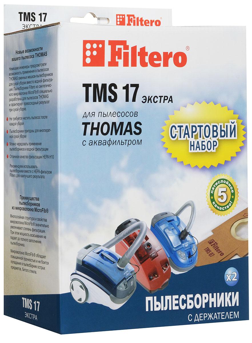 Filtero TMS 17 мешок-пылесборник для Тhomas 2 штTMS 17 (2+1) ЭКСТРАМешки-пылесборники Filtero TMS 17 произведены из синтетического микроволокна MicroFib. Очень прочные, они не боятся острых предметов и влаги, собирают больше пыли (до 50%) и обеспечивают уровень очистки воздуха 99,9%, что значительно выше, чем у бумажных пылесборников. При этом мощность всасывания пылесоса сохраняется в течение всего периода службы пылесборника.Стартовый набор фильтров Filtero TMS 17 включает в себя два сменных пылесборника Filtero TMS 07 и держатель Filtero. Сохраняя держатель Filtero из набора TMS 17 для его многократного использования в дальнейшем можно приобретать пылесборники Filtero TMS 07, без держателя.