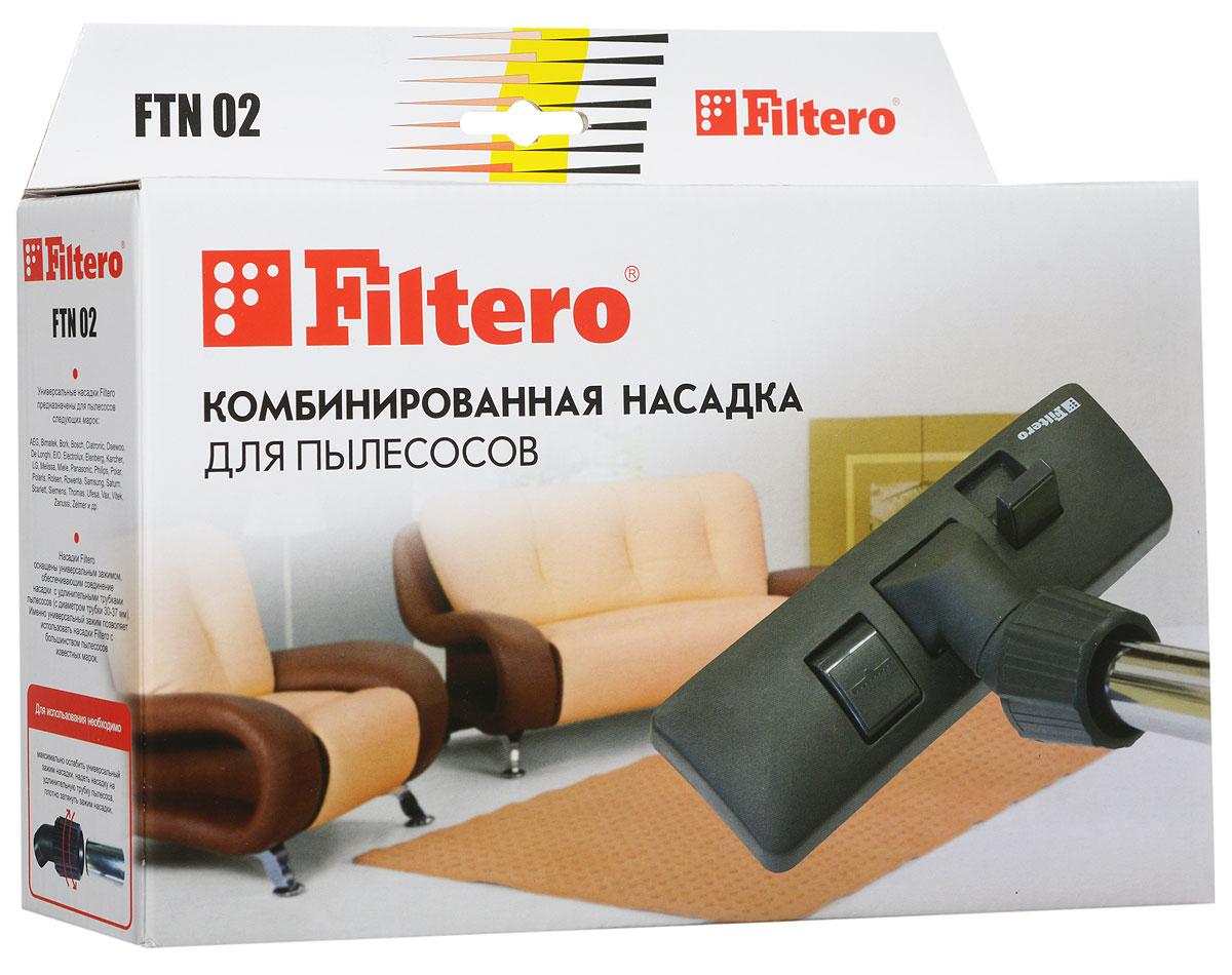 Filtero FTN 02 насадка для пылесосаFTN 02Комбинированная насадка Filtero FTN 02пол – ковер с шириной рабочей зоны 26 см оснащена универсальным зажимом, который обеспечивает возможность использования насадки с большинством пылесосов известных марок, с диаметром удлинительной трубки 30 - 37 мм.Насадка Filtero FTN 02 с удобным в переключении 2-х позиционным переключателем жесткий пол - ковер позволяет производить уборку любых напольных покрытий.