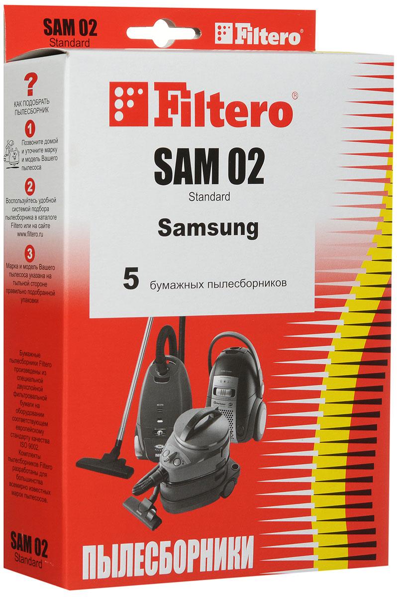 Filtero SAM 02 Standard пылесборник (5 шт)SAM 02 (5) StandardБумажные мешки-пылесборники Filtero SAM 02 Standard произведены из специальной двухслойной фильтровальной бумаги на оборудовании соответствующему европейскому стандарту качества ISO 9002.