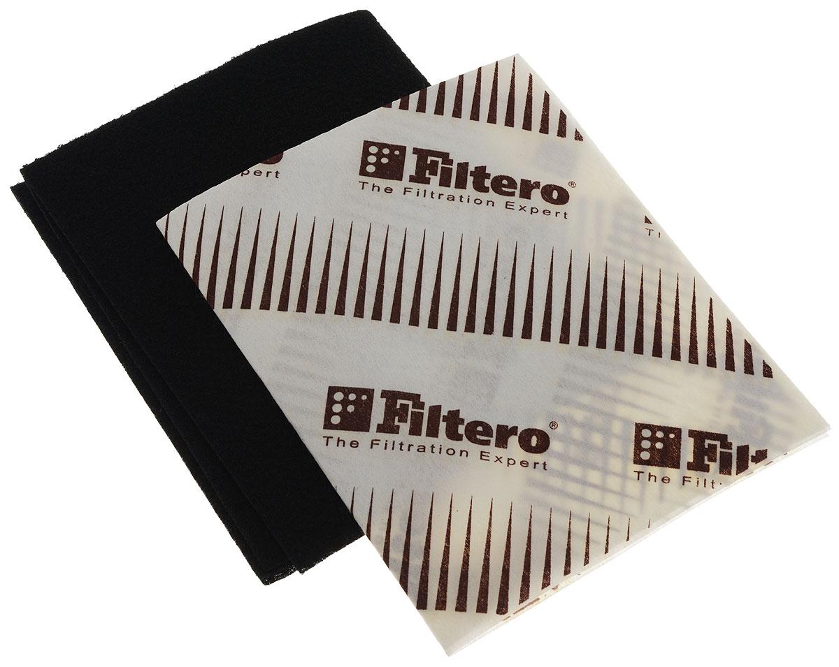 Filtero FTR 04 универсальный комбинированный фильтр для вытяжкиFTR 04Универсальный комбинированный фильтр FTR 04 предназначен для кухонных вытяжек. Угольный фильтр эффективно впитывает запахи и улавливает чад. Жиропоглощающий фильтр поглощает грязь и частицы жира, он предназначен для снижения содержания продуктов неполного сгорания газа в воздухе и предотвращения загрязнения потолков и стен кухни от сажи и копоти, а также для увеличения срока эксплуатации мотора вытяжки. Эксплуатация вытяжки не желательна без этого фильтра. Совместное использование в кухонной вытяжке фильтров увеличивает срок эксплуатации как угольного фильтра так и мотора самой вытяжки. Подлежит замене, согласно рекомендации производителя вытяжек - не реже одного раза за 6 месяцев.Эти фильтры имеет размер 570 х 470 мм, совместимы с любыми кухонными вытяжками, которые конструктивно предусматривают применение таких фильтров. Угольный фильтр функционально может заменить дорогие штатные угольные кассеты воздухоочистителей различных моделей, где это применимо.