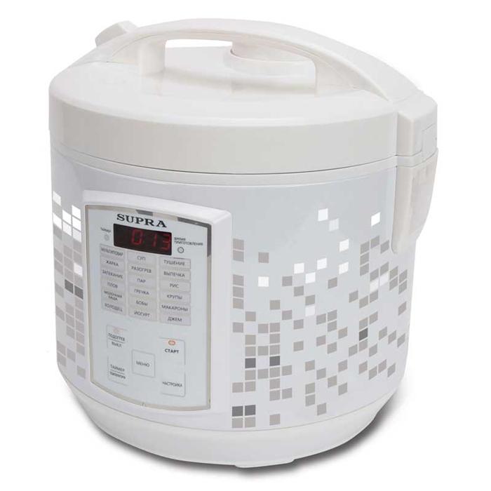 Supra MCS-5182 мультиваркаMCS-5182С помощью мультиварки Supra MCS-5182 вы приготовите тушеное мясо или же овощи на пару быстро и без лишних усилий. В случае необходимости вы можете вручную отрегулировать температуру и время готовки блюд. Прибор автоматически будет поддерживать тепло, а если вы хотите получить рано утром вкусный завтрак, то можете запрограммировать функцию отложенного старта.Множество автоматических программ позволяют без труда приготовить различные блюда. За готовкой не нужно следить, это существенно сэкономит ваше время. Съемная чаша с антипригарным покрытием позволяет готовить блюда без использования масла, отлично проводит тепло и прекрасно подходит для жарки, тушения, выпечки и варки каш.ДисплейЕмкость для сбора конденсатаЗвуковая сигнализация окончания приготовленияСветовая индикация выбранного режимаЧасы