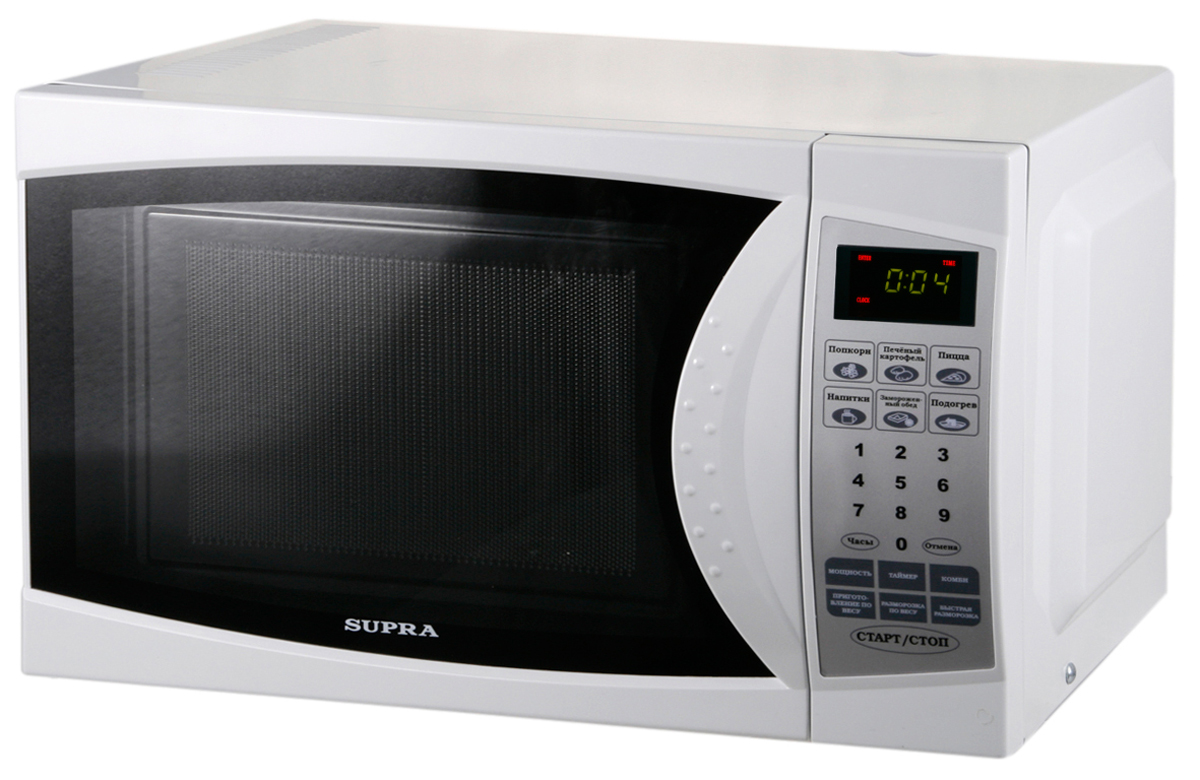 Supra MWS-1824SW микроволновая печьMWS-1824SWМикроволновая печь Supra MWS-1824SW органично впишется в интерьер вашей кухни, а большое количество полезных функций, таких как наличие программ автоматического приготовления, автоматическое размораживание, автоматический разогрев и многих других, сделает ее незаменимой помощницей в приготовлении вкусных блюд.Диаметр стеклянной тарелки: 245 мм Автоматическая разморозкаАвтоматическое приготовлениеКоличество уровней мощности: 6Подсветка камерыЗвуковой сигнал