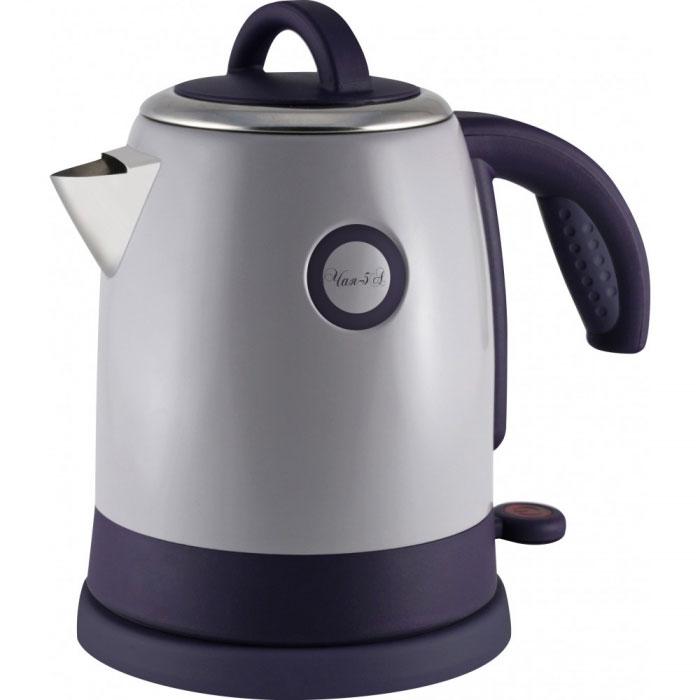 Великие Реки Чая-5А, Grey Purple электрический чайникЧая-5АВеликие Реки Чая-5А - стильный и недорогой электрический чайник в корпусе из нержавеющей стали. Модель снабжена широкой горловиной, съемной крышкой и эргономичной ручкой. Имеется также шкала уровня воды, индикатор работы и возможность вращения чайника на 360 градусов. Безопасность в использовании обеспечивает встроенная защита от перегрева.