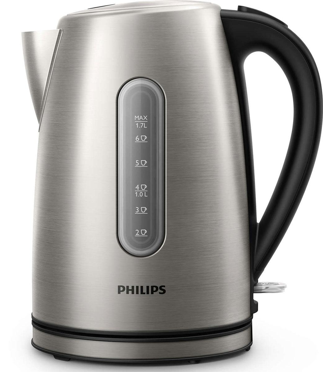Philips HD9327/10 электрический чайникHD9327/10Надежный чайник Philips HD9327/10 из нержавеющей стали проходит проверку на устойчивость к кипячению 7500 раз, что гарантирует долгий срок службы. Микрофильтр эффективно очищает воду, а плоский и удобный для очистки нагревательный элемент обеспечивает быстрое кипячение.Микрофильтр удерживает частицы накипи размером > 400 микронКрышка из нержавеющей стали на пружине легко открывается при нажатии кнопкиЭлегантная подсветка кнопки включения/выключения уведомляет о процессе нагрева водыВстроенный нагревательный элемент из нержавеющей стали обеспечивает быстрое кипячение и простую чистку