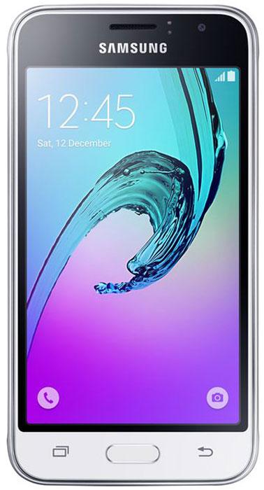 Samsung SM-J120F Galaxy J1 (2016), WhiteSM-J120FZWDSERSamsung Samsung SM-J120F Galaxy J1 - это гармония стиля и функциональности. Закругленные края подчеркивают простой, но элегантный и современный дизайн, а толщина корпуса в 8,9 мм обеспечивает удобство в использовании!Яркие впечатления от просмотраЯркие впечатления от просмотра на 4,5 экране. Он отличается широкой палитрой воспроизводимых цветов. Благодаря обновленному дизайну экран выглядит шире, а воспроизводимые изображения очень реалистичны.Яркие и четкие фотографии:5-мегапиксельная основная камера с диафрагмой f/2.2 - гарантия отличных снимков.Емкий аккумулятор:Аккумулятор с емкостью 2050 мАч позволит оставаться на связи дольше обычного. Разрядился аккумулятор? Нет проблем! Режим максимального энергосбережения позволит продлить работу вашего смартфона.Повышенная производительность:4-ядерный 1,3 ГГц процессор и 1 ГБ оперативная память обеспечат мгновенную реакцию смартфона на любые ваши действия. Вы по достоинству оцените высокую скорость работы смартфона в приложениях.Удобное приложение Smart Manager:Приложение Smart Manager дает возможность управлять основными функциями и режимами вашего смартфона. Проверить состояние уровня заряда батареи, доступный объем памяти, использование оперативной памяти и степень защищенности вашего смартфона.Телефон сертифицирован Ростест и имеет русифицированный интерфейс меню, а также Руководство пользователя.
