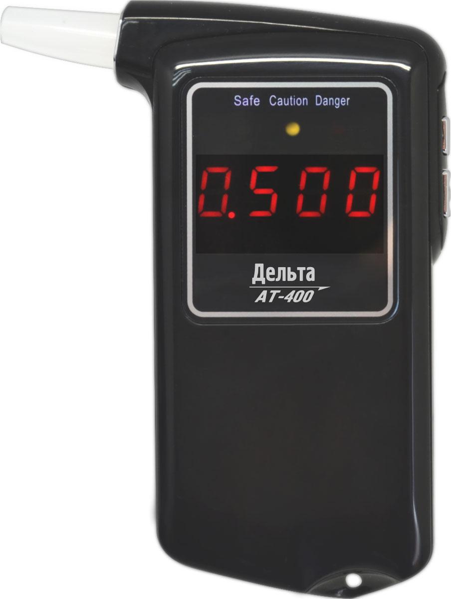 Дельта АТ 400, Black алкотестер150506984004Персональный алкогольный тестер Дельта АТ-400 предназначен для определения содержания паров алкоголя в выдыхаемом воздухе. Устройство разработано на основе современного высокотехнологичного полупроводникового датчика алкоголя с нагревательным элементом, который имеет высокую чувствительность. Современный дизайн, матовый корпус и черный экран 2 с красным цифровым дисплеем делают прибор удобным и понятным в использовании.Время прогрева: 10 сДиапазон температур: -10...+ 45 °C