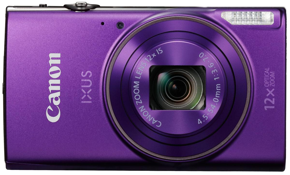 Canon IXUS 285HS, Purple цифровая фотокамера1082C001Оцените стиль и качество в карманном формате со сверхтонкой камерой IXUS с зумом 12x. С легкостью снимайте потрясающие фотографии и видео в разрешении Full HD и делитесь результатами по Wi-Fi и NFC.Компактный формат:Ультратонкую стильную камеру IXUS в металлическом корпусе можно взять с собой, куда бы вы ни направились. Она оснащена универсальным широкоугольным объективом 25 мм и оптическим зумом 12x, а также функцией ZoomPlus для увеличения 24x, поэтому вы сможете с легкостью запечатлеть любой объект на любом расстоянии - и получить фотографии и видео превосходного качества. Автозумирование позволяет выбрать оптимальное кадрирование снимка одним нажатием кнопки.Мгновенные видеоролики в формате Full HD:Снимать замечательные видеоролики просто и весело. Одно нажатие кнопки - и вы уже снимаете видео Full HD (1080p) в формате MP4. Почувствуйте свободу творчества при видеосъемке, используя оптический зум, - результат все равно поразит вас необычайной четкостью и плавностью благодаря динамическому стабилизатору изображения.Быстрое подключение:Подключайтесь к поддерживаемым мобильным устройствам одним касанием, используя Wi-Fi и NFC для простой отправки файлов. Используйте функцию синхронизации изображения для автоматического резервного копирования новых снимков в облачные сервисы и создания отличных групповых фотографий с помощью функции беспроводной дистанционной съемки с мобильного устройства. Кнопка Wi-Fi обеспечивает быстрый и простой доступ к функциям Wi-Fi.Превосходное качество:Наслаждайтесь изображениями исключительного качества и детализации даже при слабом освещении благодаря датчику изображения CMOS 20,2 МП и процессору DIGIC 4+. Интеллектуальный оптический стабилизатор изображения гарантирует четкие фотографии и плавные видеоролики в любых условиях, а большой ЖК-дисплей 7,5 см (3,0) обеспечивает простоту съемки и воспроизведения.Творчество без лишних усилий:Достаточно одного движения затвора - и функция Творч