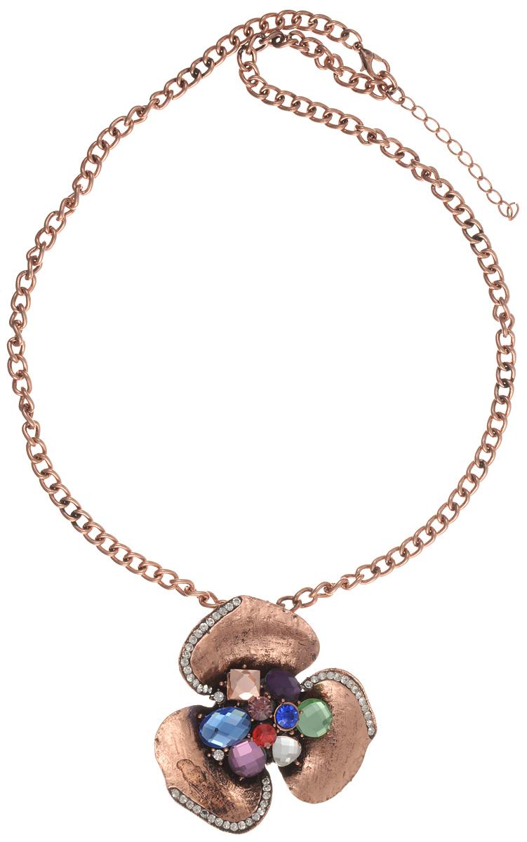 Колье Taya, цвет: бронзовый. T-B-10172Колье (короткие одноярусные бусы)Великолепное колье Taya изготовлено из бижутерного сплава. Модель выполнена в виде цепочки и дополнена подвеской в виде цветка с тремя лепестками. Лепестки цветка украшены стразами, центральная часть - ограненными разноцветными кристаллами разных форм. Застегивается колье на замок-карабин с регулирующей длину цепочкой. Подвеска оснащена застежкой-булавкой, благодаря которой изделие можно использовать отдельно от цепочки, как брошь. Такое украшений поможет вам создать уникальный и запоминающийся образ и позволит выделиться среди окружающих.