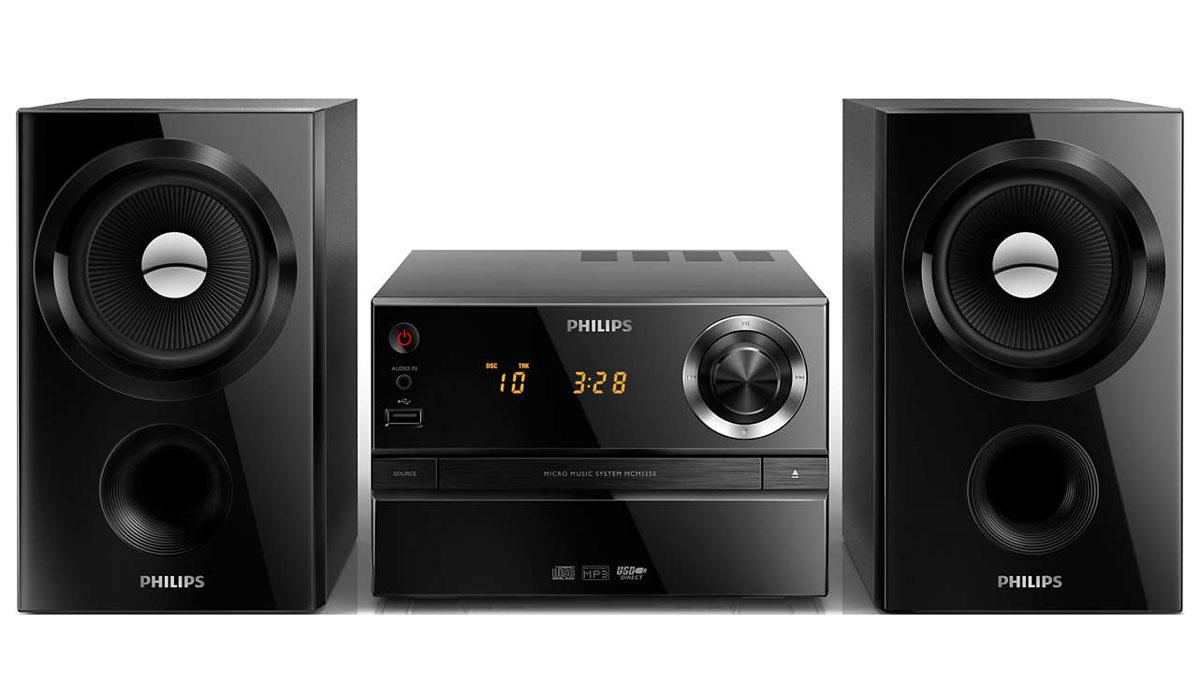 Philips MCM1350/12 микросистемаMCM1350/12Слушайте любимую музыку с портативного аудиоплеера с прямым портом USB и аудиовходом, а также с MP3-CD и CD-R/RW, при помощи музыкальной микросистемы Philips MCM1350/12. Максимальная выходная мощность 30 Вт и акустическая система Bass Reflex обеспечивают глубокий звук и мощные басы.Акустическая система Bass Reflex обеспечивает глубокое звучание басов, несмотря на компактный корпус. Ее отличие от обычных систем заключается в использовании фазоинвертора, который акустически настроен под НЧ-излучатель для оптимизации воспроизведения низких частот. Результат — лучший контроль басов и уменьшение искажений. Принцип работы системы заключается в резонировании воздушной массы в фазоинверторе, создающем вибрацию, как и в обычном НЧ-излучателе. В сочетании с характеристиками НЧ-излучателя система расширяет общий диапазон низких частот, что позволяет добиться глубокого пространственного звучания басов. Цифровой тюнер с предустановками для дополнительного удобстваПросто настройте необходимую станцию, а затем нажмите и удерживайте кнопку Preset (Предустановка), чтобы сохранить частоту. Благодаря функции сохранения предустановленных радиостанций можно быстро получить доступ к любимой радиостанции, не настраивая ее вручную каждый раз. Аудиовход позволяет воспроизводить файлы через аудиоразъем напрямую с портативных медиаплееров. Помимо возможности наслаждаться любимой музыкой в великолепном качестве на аудиосистеме, подключение через аудиовход еще и невероятно удобно — портативный MP3-плеер можно легко подсоединить через аудиоразъем.Функция Digital Sound Control (Цифровое Управление Звуком) позволяет выбрать один из предварительно настроенных режимов: сбалансированный, чистый, мощный, теплый и яркий для оптимизации звучания под конкретные жанры музыки. Каждый режим использует графическую технологию выравнивания звука для автоматической настройки звукового баланса и подчеркивания звуковых частот, наиболее важных в выбранном жанре музыки. Эта 