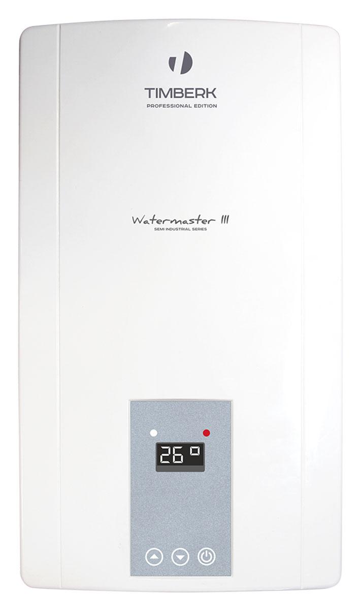 Timberk WHE 18.0 XTL C1 проточный водонагревательWHE 18.0 XTL C1Проточный водонагреватель Timberk WHE 18.0 XTL C1 обладает современным дизайном корпуса и компактным размером. Способен обеспечивать водой сразу несколько точек потребления и автоматически выключаться при прекращении подачи воды. LED дисплей, умное автоматическое управление, контроль заданной температуры и автозащита от перегрева и избыточного давления делают водонагреватель простым и удобным в использовании.Революционная конструкция нагревательного блока с предварительным подогревом входящей воды, что обеспечивает высокие показатели эффективности нагрева.Пять спиралей нагревательного элемента позволяют достигать высочайшей скорости нагрева воды, а ступенчатое включение спиралей гарантирует абсолютную точность поддержания температуры воды - вне зависимости от скорости протока.Автозащита от перегрева и избыточного давления реализована с помощью комбинированного термо-гидравлического выключателя с ручным включением. Автоматическое отключение НЭ при отсутствии подачи воды, а также при случайном перекрытии выхода горячей воды: электромеханический датчик протока лопастного типа.В зависимости от установленных пользователем температуры и уровня протока воды, электронная плата ступенчато регулирует мощность нагрева (включая и выключая дополнительные НЭ), что обеспечивает почти абсолютную точность заданной температуры воды на выходе.Специальный пластик высокого качества, используемый для производства нагревательного блока водонагревателя, обеспечивает работу под давлением при высоких температурах. Это дает возможность использовать прибор для обеспечения горячей водой нескольких точек потребления.Класс влагозащиты: IP24Класс электрозащиты: 1Производительность: 12,6 л/минНоминальное давление: 0,6 МПаНоминальный ток: 47,4 А