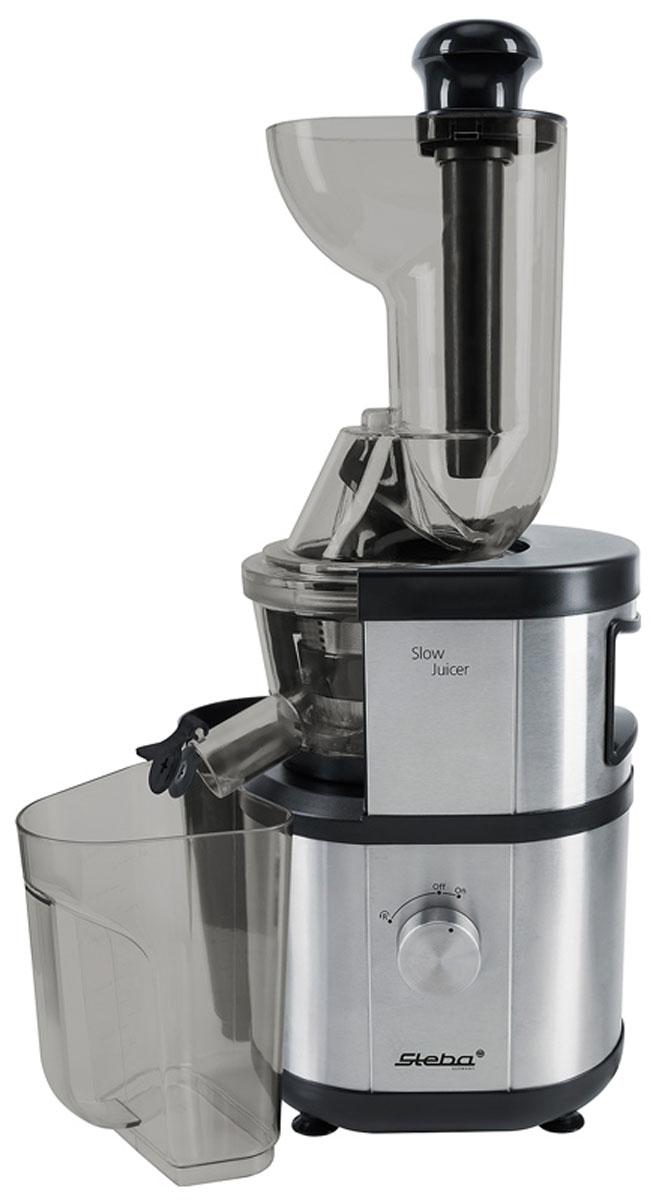 Steba E 400 шнековая соковыжималкаE 400Шнековая соковыжималка Steba E 400 позволяет отжимать максимально возможное количество сока с сохранением всех полезных компонентов. Устройство легко отжимает сок практически из всех фруктов, овощей, трав и даже картофеля! Шнековая соковыжималка Steba потребляет около 400 Вт, очень тихая и эффективная, а для удобства предусмотрен большой диаметр горловины. Полностью разборная конструкция позволяет легко очистить прибор после его использования. Встроенная функция реверса служит для предотвращения заклинивания шнека. Steba E 400 станет незаменимым помощником на вашей кухне!