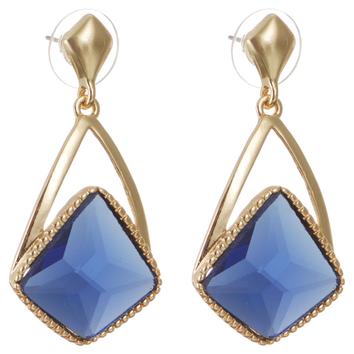 Серьги Taya, цвет: золотистый, синий. T-B-10740-EARR-GL.D.BLUEСерьги с подвескамиОригинальные серьги Taya, выполненные из металлического сплава в виде подвесок в форме капли декорированной крупным кристаллом необычной формы, придадут вашему образу изюминку, подчеркнут красоту или преобразят повседневный наряд. Застегиваются на замок-гвоздик с пластиковой заглушкой.Такие серьги позволят вам с легкостью воплотить самую смелую фантазию и создать собственный, неповторимый образ.