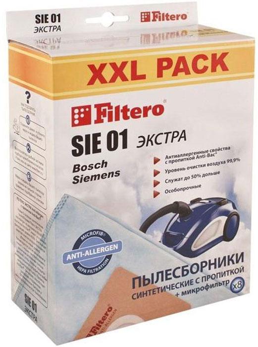 Filtero SIE 01 XXL Pack Экстра пылесборник (8 шт)SIE 01 (8) XXL PACK ЭКСТРАПылесборники Filtero SIE 01 XXL Экстра произведены из синтетического микроволокна MicroFib с антибактериальной пропиткой Anti-Bac. Очень прочные, они не боятся острых предметов и влаги, собирают больше пыли (до 50%) и обеспечивают уровень очистки воздуха 99,9%, а также задерживают бактерии и препятствуют их распространению. При этом мощность всасывания пылесоса сохраняется в течение всего периода службы пылесборника.Пылесборники подходят для следующих моделей пылесосов:BOSCHBBS 1000 - BBS 1199 Alpha\SolidaBBS 2000 - BBS 2299 AlphaBBS 2400 - BBS 2999 AlphaBBS 5000 - BBS 5999 OptimaBBS 6310 - BBS 6399 с коробомBBS 7000 - BBS 7999 CompactaBBS 8000 - BBS 8999 PerfectaBSA 2000 - BSA 2999 Solitaire / Speedy / SpheraBSA 3000 - BSA 3999 SpheraBSC 1000 - BSC 1999 Casa / Easy Control / Pro ParquetBSD 2300 - BSD 3099 SpheraBSF 1000 - BSF 1999 UltraBSF 2190BSG 2000 AquaeraBSG 41800 TerrossaBSG 61600 - BSG 62999 LogoBSG 7000 - BSG 7999например: BSG 7355BSGL 2 move 1-8,21,30,31BSGL 31000 - BSGL 32599например: BSGL 32125 Bionic FilterBSGL 41000 - BSGL 42299BSGL 51000 - BSGL 51999BGL 35 MOVE 5BGL 35 MOVE 6BGL 35 MOV 12BGL 35 MOV 14BGL 35 MOV 15BGL 35 MOV 16BGL 35 MOV 17BGL 35 SPORTGL-30, GL-40SIEMENSVS 04G1780 RUVS 04G2000 RUVS 06G0000 - VS 06G9999 Synchropowerнапример: VS06G2044 RU SynchropowerVS 10000 - VS 10999 SuperVS 32A00 - VS 33A99 Super EVS 32B00 - VS 33B99 Super EVS 42A00 - VS 42A99 Super SVS 42B00 - VS 42B99 Super SVS 50000 - VS 59999 SuperVS 50A00 - VS 59A99 Super XS / Super XXS DinoVS 50B00 - VS 59B99 Super XS / Super XXS DinoVS 50C00 - VS 59C99 Super XS / Super XXS DinoVS 52D00 - VS 59D99VS 55E00 - VS 59E99 DinoVS 63A00 - VS 63A99 Silver ClassVS 69000 - VS 69999 SuperVS 70000 - VS 71999 SuperVS 70C00 - VS 79C99 Super MVS 70D00 - VS 79D99 Super MVS 90A00 - VS 99A99 Super LVS 90A00 - VS 99A99 Super XLVSZ 41000 - VSZ 42499 например: VSZ42232 Dino CONTIVC 701 - VC 704KARCHERVC 5100, VC 5200, VC 5300