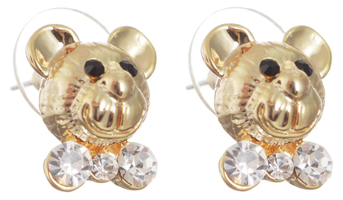 Серьги Taya, цвет: золотистый. T-B-10494Пуссеты (гвоздики)Оригинальные серьги Taya выполнены из бижутерного сплава в виде мордашек медведей и оформлены стразами. Застегиваются серьги на замок-гвоздик с заглушками. Серьги Taya позволят вам с легкостью воплотить самую смелую фантазию и создать собственный, неповторимый образ.