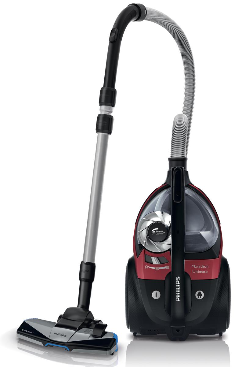 Philips FC9911/01 PowerPro Ultimate, Red пылесосFC9911/01Новый безмешковый пылесос Philips PowerPro Ultimate обеспечивает непревзойденные результаты уборки. Технология PowerCyclone 7 предназначена для эффективного разделения пыли и воздуха. Насадка TriActive+ подходит для уборки любых типов напольных покрытий.PowerCyclone 7 для максимальной мощности всасывания:Аэродинамическая конструкция PowerCyclone 7 сокращает сопротивление воздуха и обеспечивает идеальные результаты уборки в три этапа: 1) Благодаря прямой и широкой воронке на входе поток воздуха поступает в камеру PowerCyclone. 2) Воздуховод изогнутой формы ускоряет воздушный поток в циклонной камере. 3) В верхней части вихревого потока выходные лопасти эффективно отделяют пыль от воздуха.Фильтр Ultra Clean Air HEPA 13 с уровнем фильтрации 99,95 %:Фильтр Ultra Clean Air HEPA 13 удерживает не менее 99,95 % мелких частиц пыли, делая воздух в помещении чистым и устраняя аллергены.Технология NanoClean для удобного удаления пыли и грязи:Специально разработанная инновационная технология не дает образоваться облаку пыли. Пыль остается на дне контейнера, а не выбрасывается в воздух. Открывая контейнер, вы можете быть уверены, что пыль останется внутри.Удобный контейнер для сбора пыли позволяет без труда выбросить скопившийся мусор:На одной стороне контейнера имеется носик, благодаря которому можно аккуратно выбросить пыль.Новая насадка 3 в 1 TriActive+ собирает крупные и мелкие частички пыли:Насадка TriActive+ выполняет 3 действия одновременно: 1) благодаря особой конструкции она аккуратно приподнимает ворс ковра, чтобы собрать пыль даже с самых глубоких слоев; 2) широкое отверстие на передней части насадки собирает крупный мусор; 3) удаляет пыль и грязь вдоль мебели и стен с помощью щеток, расположенных с двух сторон.