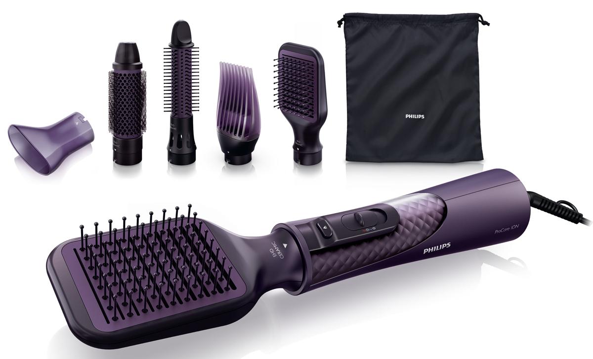 Philips HP8656/00 фен-щетка 5-в-1HP8656/00Сушите и укладывайте волосы одновременно: новый фен-щетка Philips HP 8656 позволяет создавать прекрасные, естественные прически и заботиться о волосах. С помощью инновационной массажной щетки вы сможете выпрямить волосы, не повреждая их. Дополнительный уход с помощью системы ионизации для гладких и блестящих волосСистема ионизации обеспечивает сушку волос с антистатическим эффектом. Отрицательно заряженные ионы позволяют избежать статического электричества и улучшить общее состояние волос, а также способствуют закрытию волосяных чешуек, придавая волосам блеск и глянец. В результате волосы становятся прямыми, гладкими и шелковистыми. 1000 Вт для великолепных результатовЭтот фен мощностью 1000 Вт создает воздушный поток оптимальной мощности и при этом бережно обращается с вашими волосами - все что нужно для достижения великолепных результатов день за днем. 38 мм термощетка делает волосы более гладкими и блестящимиТермощетка со сверхшироким диаметром 38 мм. Широкий диаметр позволяет создавать идеальную укладку - подходит как для выпрямления волос, так и для создания волн. Щётка со втягиваемой щетиной для простого создания локоновЭтот удобный фен-щетку можно использовать как в качестве щетки для укладки, так и для завивки волос. При нажатии кнопки зубчики втягиваются в щетку, и таким образом можно легко извлечь стайлер из волос. В результате формируются превосходные упругие локоны. Узкая насадка-концентратор для направленного потока воздухаНасадка-концентратор позволяет направить воздушный поток только на те пряди, которые требуется зафиксировать. Это помогает создать аккуратную укладку или внести последний штрих в создание образа. Насадка для придания объема волос у корнейУникальная инновационная насадка для придания объема позволяет придать волосам объем у корней - именно то, что вы искали. Холодный обдув для бережной сушкиРежим холодного обдува позволяет сушить волосы при невысокой температуре, что сводит риск повреждения к м