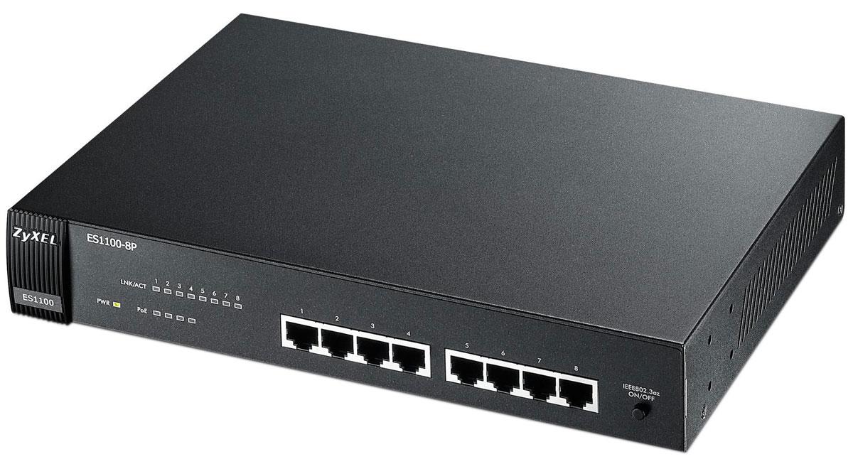 Zyxel ES1100-8P коммутатор (8 портов)ES1100-8PES1100-8P представляет собой неуправляемый коммутатор с 8 интерфейсами 10/100 Мбит/c, из которых 4 поддерживают технологию PoE для передачи данных и питания по медному кабелю на оконечные сетевые устройства, такие как точки доступа Wi-Fi, IP-телефоны и видеокамеры. Коммутатор не требует настроек и предназначен для быстрого подключения компьютеров и других сетевых устройств к существующей сети малых и средних компаний. Интерфейсы PoE полностью соответствуют стандарту 802.3af и обеспечивают мощность до 15,4 Вт на каждое подключаемое устройство. ES1100-8P имеет настольное исполнение, но возможна установка и в 19-дюймовую стойку посредством монтажных скоб, которые входят в комплект поставки. Разъем питания и сетевые интерфейсы находятся на одной панели для удобства подключения кабельной инфраструктуры.Безвентиляторное исполнениеУменьшение потребляемой мощности при отсутствии соединения и в зависимости от длины кабельной системы (Link-on cable length power saving and link-down power saving)Возможность одновременно подключить до 4 устройств с максимальной мощностью 15,4 Вт по стандарту 802.3afКомпактный дизайн, бесшумная работа и низкое энергопотреблениеМеталлический корпус, встроенный адаптер питания, настольный и стоечный монтажСветодиодные индикаторы для удобства диагностики сетиАвтоматическое определения скорости и дуплексного режимаНеблокируемое подключение 16 устройств (Общая пропускная способность коммутатора 1,6 Гбит/с)Продвижение маркированных кадров 802.1QСодержит буферную память на 160 Кбайт и таблицу MAC-адресов на 1000 записейПодавление широковещательных штормовТаблица MAC-адресов: 1024Матрица коммутации: 1,6 Гбит/секБуфер данных: 96 КбайтПорт 10/100Base-TX: 4Порт 10/100Base-TX PoE: 4 (с 1 по 4 порты)Автоопределение скорости и типа кабеля (MDI-II/MDI-X)Защита от широковещательного шторма