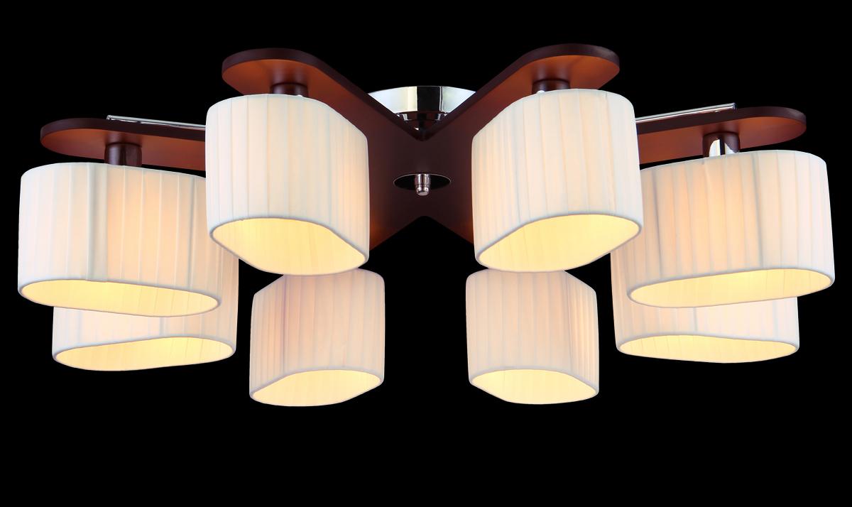 Люстра Natali Kovaltseva, 8 x E14, 60W. 10714/8C10714/8C TOONЛюстра Natali Kovaltseva, выполненная в эко стиле, станет украшением вашей комнаты и оригинально дополнит интерьер. Изделие крепится к потолку. Такая люстра универсальна и отлично подойдет для освещения кабинета, столовой, кухни, спальни или гостиной. Люстра выполнена из металла с хромированным покрытием и индийского красного дерева тун. Изделие имеет 8 плафонов, выполненных из легкого текстиля в складку. В коллекциях Natali Kovaltseva представлены разные стили - от классики до хайтека. Дизайн и технологическая составляющая продукции разрабатывается в R&D центре компании, который находится в г. Дюссельдорф, Германия. При производстве продукции используются высококачественные и эксклюзивные материалы: хрусталь ASFOR, муранское стекло, перламутр, 24-каратное золото, бронза. Производство светильников соответствует стандарту системы менеджмента качества ISO 9001-2000. На всю продукцию ТМ Natali Kovaltseva распространяется гарантия.