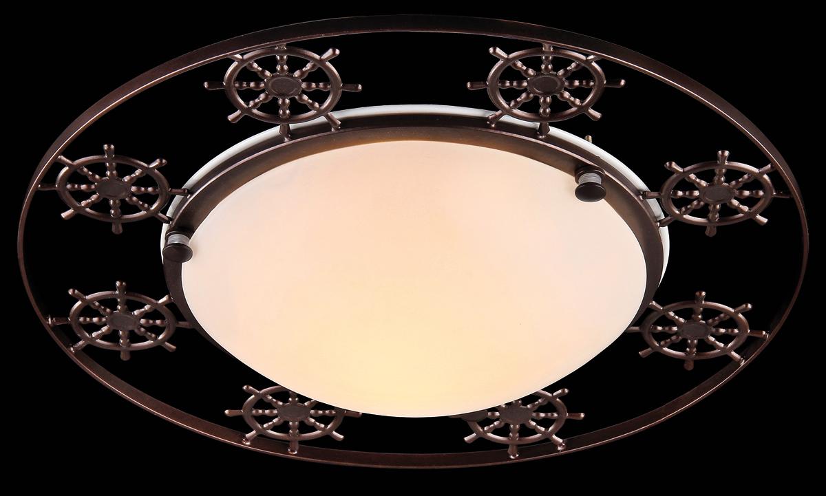 Светильник Natali Kovaltseva Sea, 3 x E27, 60W. 11365/3C ANTIQUESEA 11365/3C ANTIQUEСветильник Natali Kovaltseva, выполненный в оригинальном дизайне, станет украшением вашей комнаты и изысканно дополнит интерьер. Изделие крепится к потолку или стене. Такой светильник отлично подойдет для освещения кабинета, столовой, спальни или гостиной. Он изготовлен из металла с покрытием под бронзу и снабжен круглым плафоном из матового стекла, скрывающим 3 цоколя. Изделие дополнено фигурками в виде штурвалов. В коллекциях Natali Kovaltseva представлены разные стили - от классики до хайтека. Дизайн и технологическая составляющая продукции разрабатывается в R&D центре компании, который находится в г. Дюссельдорф, Германия. При производстве продукции используются высококачественные и эксклюзивные материалы: хрусталь ASFOR, муранское стекло, перламутр, 24-каратное золото, бронза. Производство светильников соответствует стандарту системы менеджмента качества ISO 9001-2000. На всю продукцию ТМ Natali Kovaltseva распространяется гарантия.
