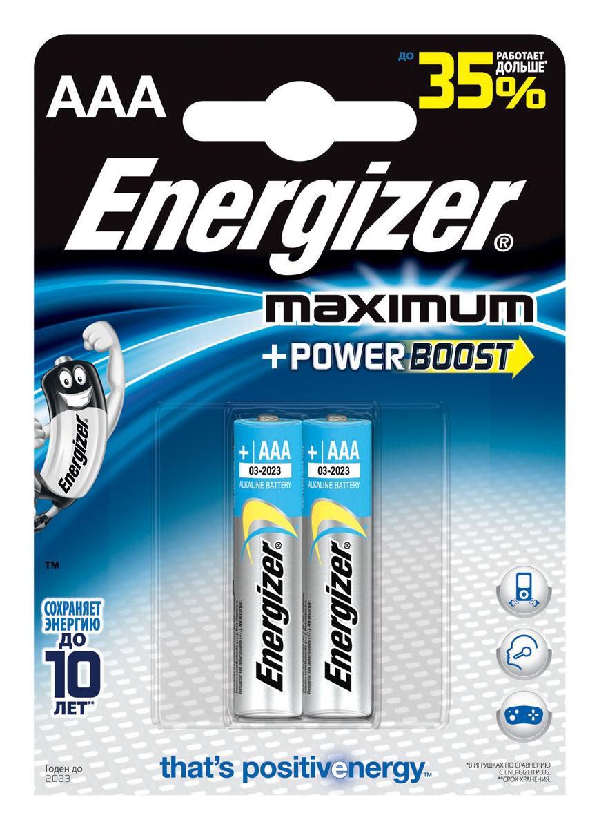 Батарейка Energizer Maximum, тип AAA, 1,5V, 2 шт638397X/638397/637456/635264Батарейки Energizer Maximum с технологией PowerBoost - самые долговечные батарейки в семействе щелочных батареек Energizer. Они работают до 80% дольше, чем стандартные щелочные батарейки, идеальны для часто используемых устройств. Сохраняют заряд до 10 лет. Устанавливаются в цифровые камеры, плееры, игровые приставки и другие приборы повседневного использования.