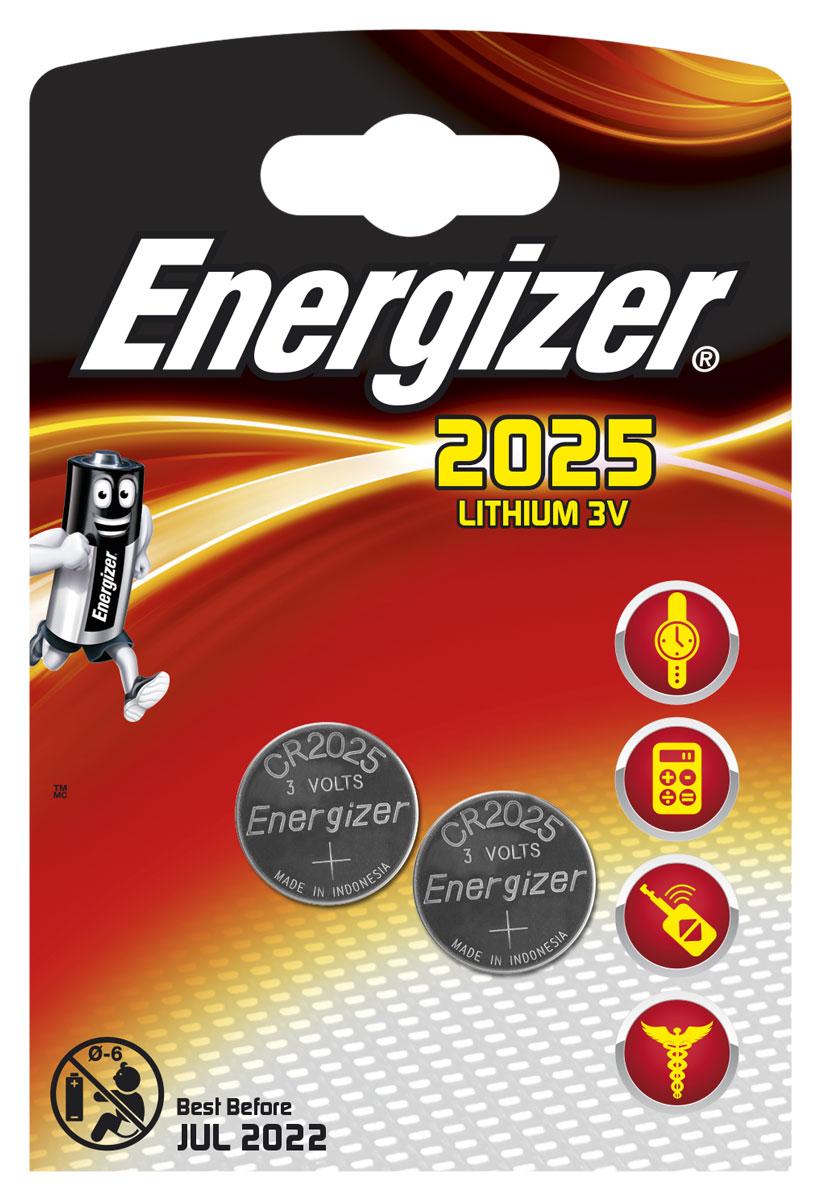 Батарейка Energizer Lithium, тип CR2025, 3V, 2 шт637988/626981/638708Батарейка Energizer Lithium предназначена для электронных устройств. Устанавливается в электронные игры и игрушки, устройства личной гигиены, калькуляторы, электронные ежедневники и книги, системы бесключевого доступа, системы открывания гаражных ворот, цифровые термометры, тонометры и бытовые медицинские приборы.