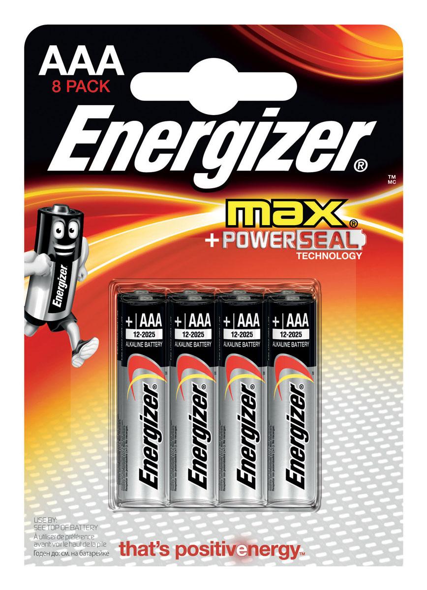 Батарейка Energizer Max, тип ААA/LR03, 1,5 V, 8 штE300112100Батарейка Energizer Max - безотказный источник энергии для устройств повседневного пользования. Чаще всего применяется в пультах управления, небольших фонарях, часах, радио. Это первая в мире щелочная батарейка без ртути. Работает до 45% дольше, держит заряд до 10 лет. Стандартные щелочные батарейки Energizer защищены от протеканий.