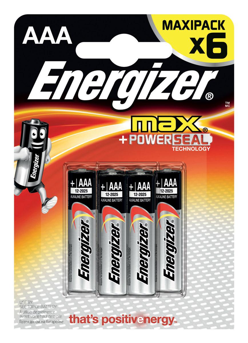 Батарейка Energizer Max, тип ААA/LR03, 1,5 V, 6 штE300131700Батарейка Energizer Max - безотказный источник энергии для устройств повседневного пользования. Чаще всего применяется в пультах управления, небольших фонарях, часах, радио. Это первая в мире щелочная батарейка без ртути. Работает до 45% дольше, держит заряд до 10 лет. Стандартные щелочные батарейки Energizer защищены от протеканий.