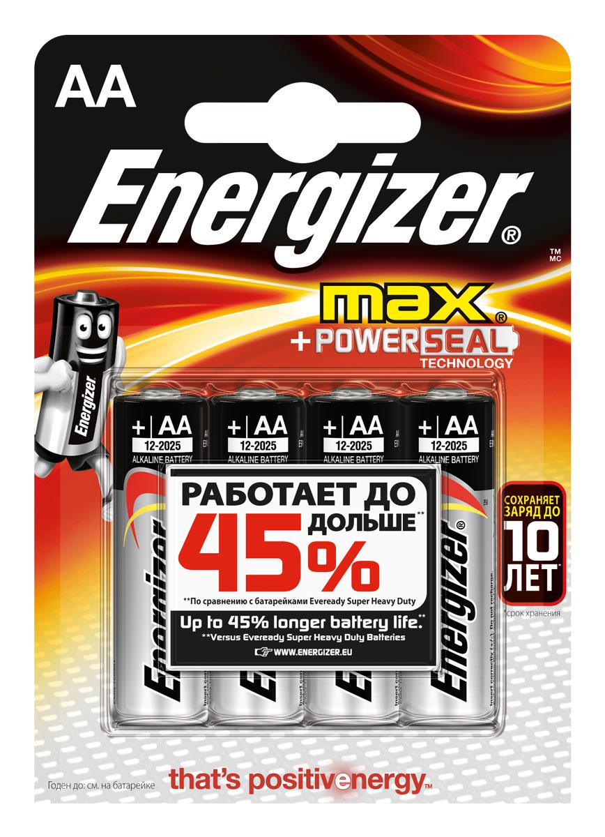 Батарейка Energizer Max, тип АА/LR6, 1,5 V, 4 штE300157100PБатарейка Energizer Max - безотказный источник энергии для устройств повседневного пользования. Чаще всего применяется в пультах управления, небольших фонарях, часах, радио. Это первая в мире щелочная батарейка без ртути. Работает до 45% дольше, держит заряд до 10 лет. Стандартные щелочные батарейки Energizer защищены от протеканий.