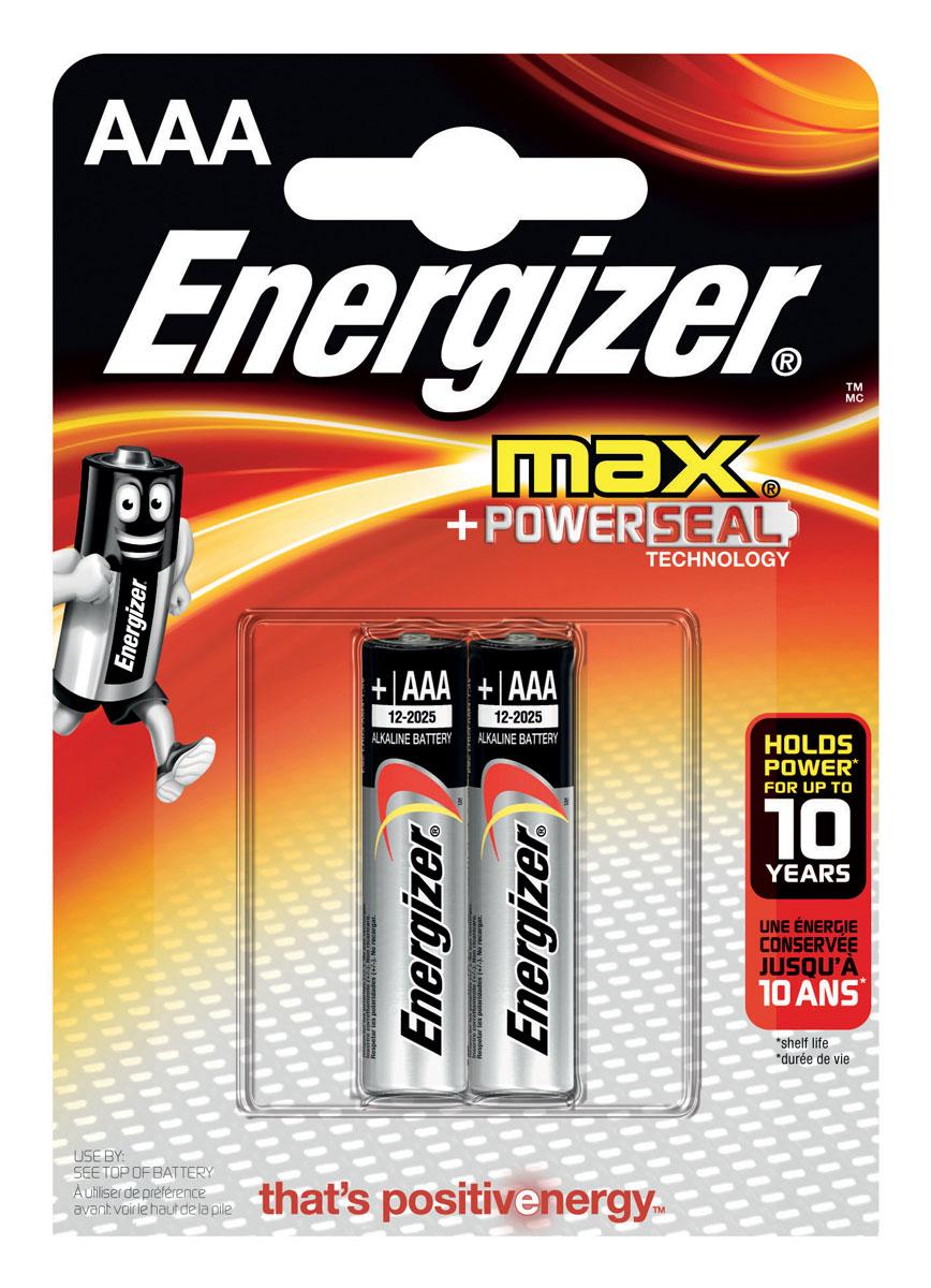 Батарейка Energizer Max, тип ААA/LR03, 1,5 V, 2 штE300157200Батарейка Energizer Max - безотказный источник энергии для устройств повседневного пользования. Чаще всего применяется в пультах управления, небольших фонарях, часах, радио. Это первая в мире щелочная батарейка без ртути. Работает до 45% дольше, держит заряд до 10 лет. Стандартные щелочные батарейки Energizer защищены от протеканий.