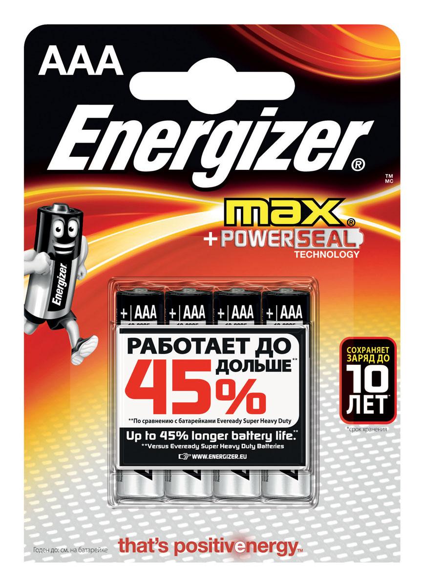 Батарейка Energizer Max, тип ААA/LR03, 1,5 V, 4 штE300157300PБатарейка Energizer Max - безотказный источник энергии для устройств повседневного пользования. Чаще всего применяется в пультах управления, небольших фонарях, часах, радио. Это первая в мире щелочная батарейка без ртути. Работает до 45% дольше, держит заряд до 10 лет. Стандартные щелочные батарейки Energizer защищены от протеканий.