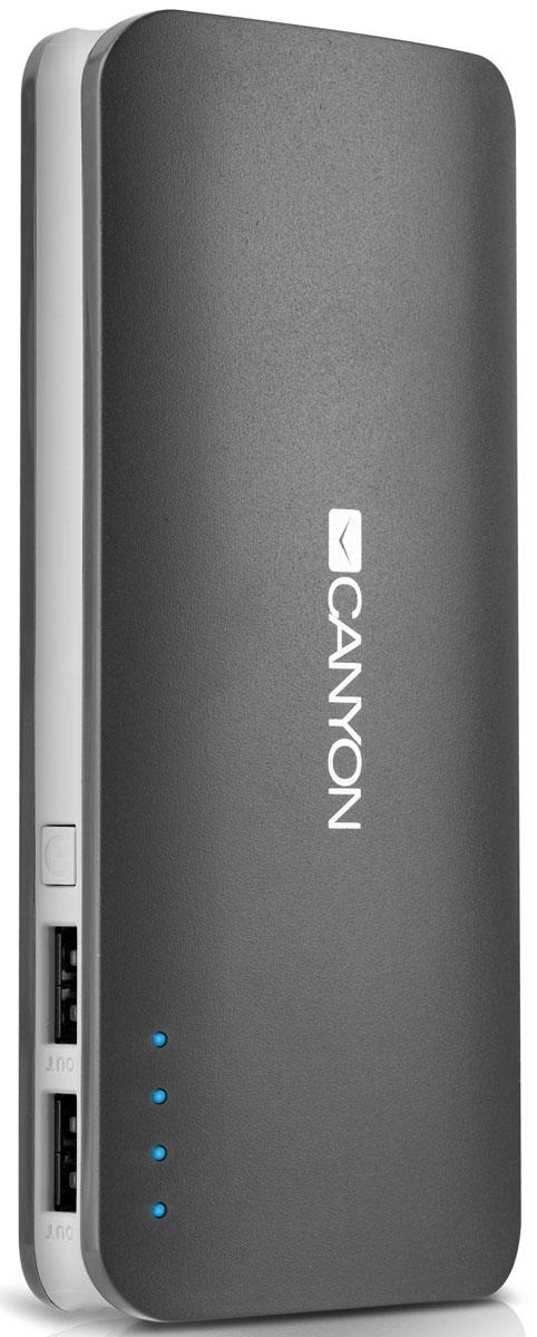 Canyon CNE-CPB130DG, Dark Grey внешний аккумуляторCNE-CPB130DGЕсли в вашей сумке лежит аккумулятор CNE-CPB130 от Canyon — вы не останетесь с разряженной батареей смартфона или планшета. Низкий заряд гаджета больше не проблема – благодаря двум USB-портам от ультраёмкого аккумулятора Canyon можно заряжать 2 устройства одновременно! Ёмкости аккумулятора должно хватить на 5-6 зарядок среднестатистического смартфона. А проследить уровень заряда аккумулятора можно с помощью светодиодных индикаторов. Отличный помощник в городе и в поездке!Время зарядки: 8 часовМаксимальная выходная сила тока: 2 A