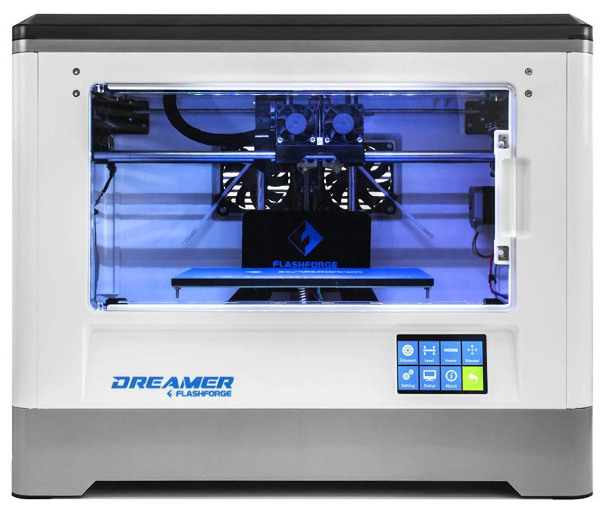 FlashForge Dreamer 3D принтерFlashForge Dreamer3D принтер Flashforge Dreamer - универсальный принтер, как для дома, так и для образования. Полностью закрытий корпус защищает все движущиеся и нагревающиеся элементы, что делает данный принтер полностью безопасным в использовании. Кроме этого, это позволяет сохранять стабильную постоянную температуру внутри принтера, что позволяет работать любыми видами пластиками. Принтер оснащен двух головочным экструдером, что увеличивает ваши возможности при печати, подогреваемой платформой, 3,5 дюймовым LCD дисплеем. Также расширен интерфейс подключения, помимо стандартных USB кабеляи SD карты, принтер может работать посредствам WiFi соединения. Простой и понятный пользовательский интерфейс программного обеспечения, поможет вам успешно нарезать .STL файлы с первого раза использования и печатать их.Данный принтер имеет сертификаты безопасности в Европе и Соединенных Штатах.ARM Contex-M4 процессор CPUОбласть построения: 230 x 150 x 150 ммДиаметр нити: 1,75 ммДиаметр сопла: 0,4 ммКоличество печатающих головок: 2Скорость печати: 30 - 200 мм/сек