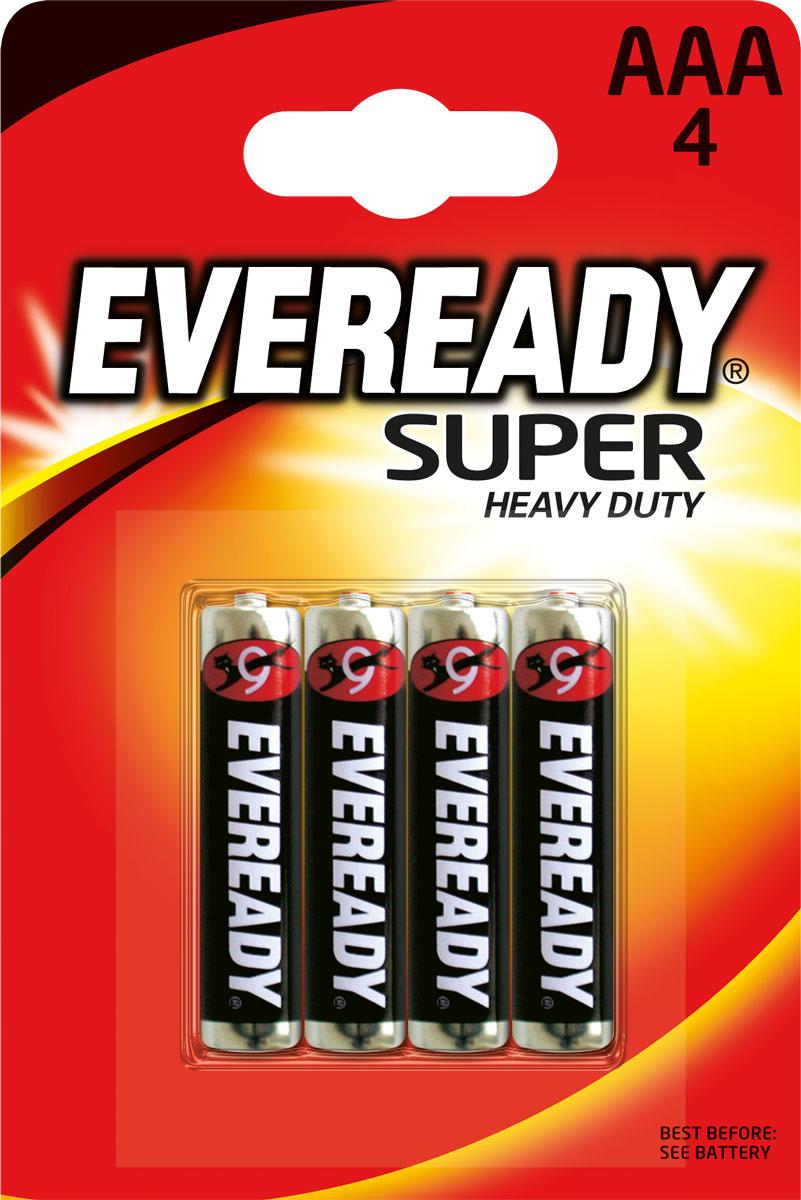 Батарейка Eveready Super, тип AAA, 1,5V, 4 шт639608/628949/637068Солевая (угольно-цинковая) батарейка Eveready Super состоит из диоксида марганца. Оптимальна для приборов ежедневного пользования. Защищена от протеканий.