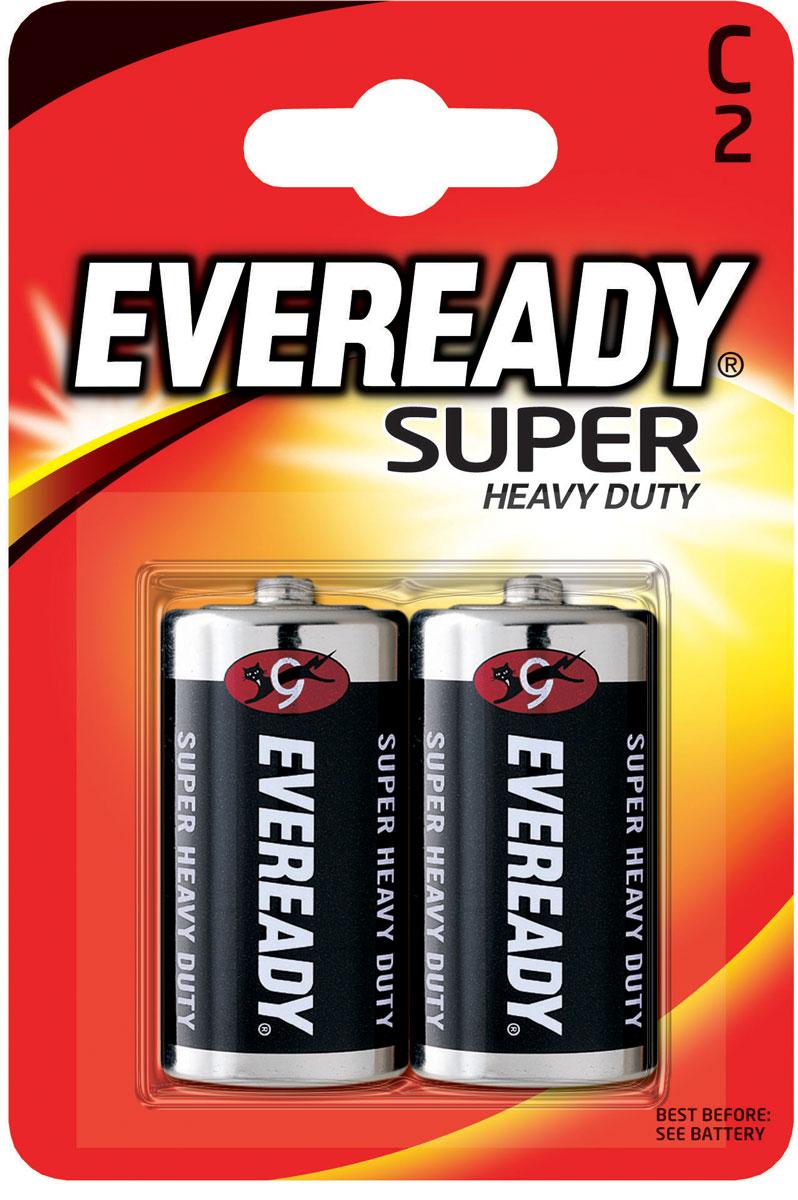 Батарейка солевая Eveready Super Heavy Duty, тип С-R14, 1,5V, 2 шт638749/637085/620466Солевые батарейки Eveready Super Heavy Duty состоят на 100% угольно-цинкового элемента питания. Оптимальны для приборов ежедневного пользования. Защищены от протеканий.Размер батарейки: 5 х 2,5 см.
