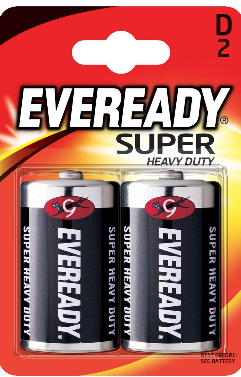 Батарейка солевая Eveready Super Heavy Duty, тип D-R20, 1,5V, 2 шт637087/620467Солевые батарейки Eveready Super Heavy Duty состоят на 100% угольно-цинкового элемента питания. Оптимальны для приборов ежедневного пользования. Защищены от протеканий.Размер батарейки: 6 х 3 см.