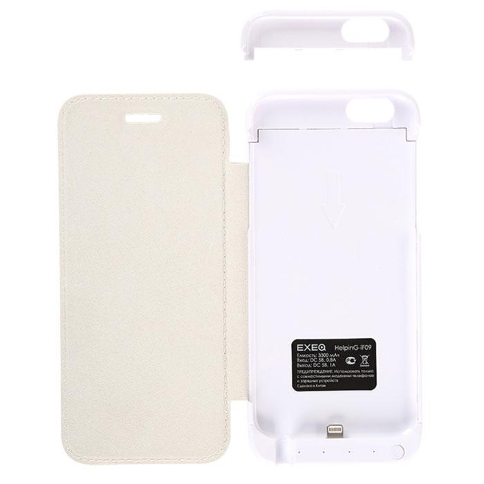 EXEQ HelpinG-iF09, White чехол-аккумулятор для iPhone 6 (3300 мАч, флип-кейс)HelpinG-iF09 WHЯркому и стильному смартфону шестого поколения необходимы не менее яркие и элегантные аксессуары. Одним из таких представителей является чехол-аккумулятор Exeq HelpinG-iF09. Лаконичный и продуманный дизайн, практичная цветовая гамма, надежная защита и встроенный аккумулятор емкостью 3300 мАч для своевременной подзарядки батареи - вот основные преимущества Exeq HelpinG-iF09. Такой чехол не просто защитит смартфон от грязи, ударов, царапин и обеспечит подзарядку, но и изящно подчеркнет утонченный стиль самого смартфона.Элегантная конструкция Exeq HelpinG-iF09 обеспечит надежную защиту не только задней и боковым поверхностям смартфона, но и его дисплею, благодаря удобной откидной крышке. Для комфортной эксплуатации телефона в чехле также есть специальная выдвижная ножка-подставка.Зарядка чехла-аккумулятора Exeq HelpinG-iF09 происходит от зарядного устройства смартфона. Необходимо просто подсоединить зарядное устройство к чехлу и зарядка последнего начнется автоматически. Если при подключении зарядного к чехлу, нажать кнопку питания на чехле, то будет происходить зарядка смартфона.